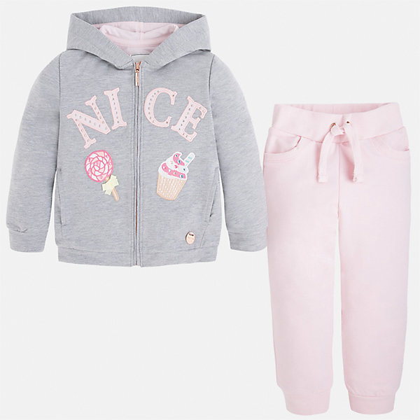 Спортивный костюм для девочки MayoralКомплекты<br>Характеристики товара:<br><br>• цвет: розовый/серый<br>• состав: 58% хлопок, 39% полиэстер, 3% эластан<br>• комплектация: курточка, штаны<br>• куртка декорирована принтом<br>• карманы<br>• капюшон<br>• штаны однотонные<br>• пояс на шнурке<br>• манжеты<br>• страна бренда: Испания<br><br>Стильный качественный спортивный костюм для девочки поможет разнообразить гардероб ребенка и удобно одеться в теплую погоду. Курточка и штаны отлично сочетаются с другими предметами. Универсальный цвет позволяет подобрать к вещам верхнюю одежду практически любой расцветки. Интересная отделка модели делает её нарядной и оригинальной. В составе материала - натуральный хлопок, гипоаллергенный, приятный на ощупь, дышащий.<br><br>Одежда, обувь и аксессуары от испанского бренда Mayoral полюбились детям и взрослым по всему миру. Модели этой марки - стильные и удобные. Для их производства используются только безопасные, качественные материалы и фурнитура. Порадуйте ребенка модными и красивыми вещами от Mayoral! <br><br>Спортивный костюм для девочки от испанского бренда Mayoral (Майорал) можно купить в нашем интернет-магазине.<br><br>Ширина мм: 247<br>Глубина мм: 16<br>Высота мм: 140<br>Вес г: 225<br>Цвет: розовый<br>Возраст от месяцев: 24<br>Возраст до месяцев: 36<br>Пол: Женский<br>Возраст: Детский<br>Размер: 122,134,128,98,116,110,104,92<br>SKU: 4232568