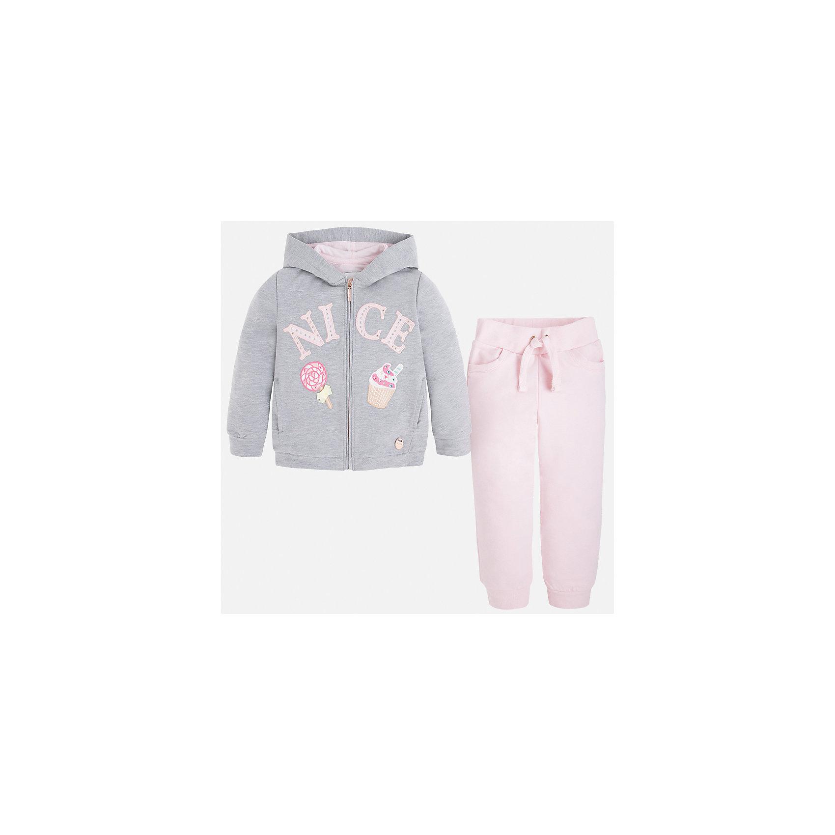 Спортивный костюм для девочки MayoralКомплекты<br>Характеристики товара:<br><br>• цвет: розовый/серый<br>• состав: 58% хлопок, 39% полиэстер, 3% эластан<br>• комплектация: курточка, штаны<br>• куртка декорирована принтом<br>• карманы<br>• капюшон<br>• штаны однотонные<br>• пояс на шнурке<br>• манжеты<br>• страна бренда: Испания<br><br>Стильный качественный спортивный костюм для девочки поможет разнообразить гардероб ребенка и удобно одеться в теплую погоду. Курточка и штаны отлично сочетаются с другими предметами. Универсальный цвет позволяет подобрать к вещам верхнюю одежду практически любой расцветки. Интересная отделка модели делает её нарядной и оригинальной. В составе материала - натуральный хлопок, гипоаллергенный, приятный на ощупь, дышащий.<br><br>Одежда, обувь и аксессуары от испанского бренда Mayoral полюбились детям и взрослым по всему миру. Модели этой марки - стильные и удобные. Для их производства используются только безопасные, качественные материалы и фурнитура. Порадуйте ребенка модными и красивыми вещами от Mayoral! <br><br>Спортивный костюм для девочки от испанского бренда Mayoral (Майорал) можно купить в нашем интернет-магазине.<br><br>Ширина мм: 247<br>Глубина мм: 16<br>Высота мм: 140<br>Вес г: 225<br>Цвет: розовый<br>Возраст от месяцев: 18<br>Возраст до месяцев: 24<br>Пол: Женский<br>Возраст: Детский<br>Размер: 92,134,122,98,104,110,116,128<br>SKU: 4232568