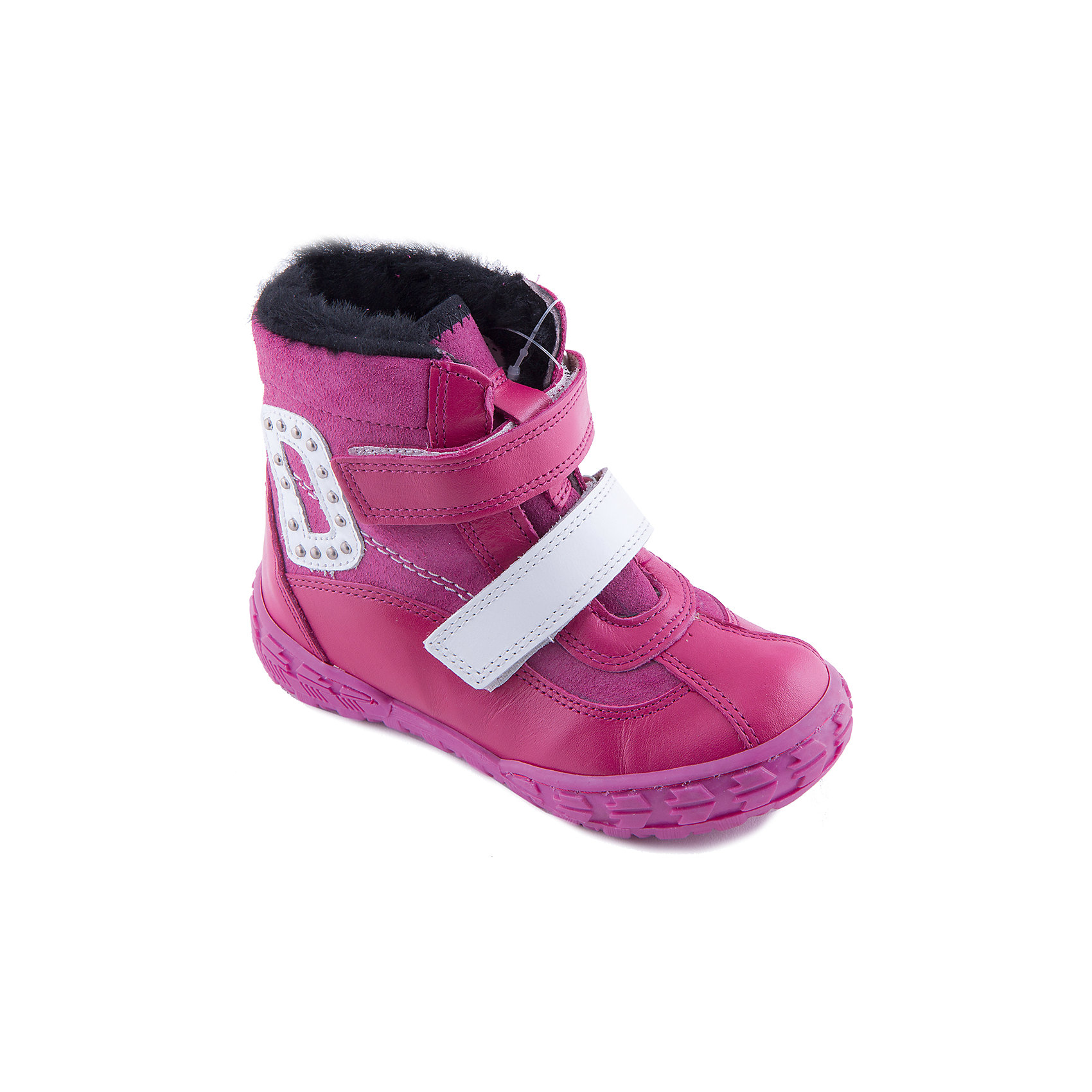 Ботинки для девочки DandinoБотинки<br>Ботинки для девочки Dandino - прекрасный вариант для холодной погоды. Модель изготовлена из натуральной кожи, меховая подкладка обеспечивает тепло и комфорт во время носки. Ботинки застегиваются на липучку украшены замшевой аппликацией с металлическими декорами. <br><br>Дополнительная информация:<br><br>- Сезон: зима.<br>- Температурный режим: от -5? до - 20?.<br>- Тип застежки: липучка <br>- Декоративные элементы: аппликация. <br>- Рифленая подошва.<br>Параметры для размера 26<br>- Толщина подошвы: 1, 5 см.<br>- Высота каблука: 2,5 см.<br>Состав: <br>верх-натуральная кожа 100%, подкладка -  мех 100%, подошва-ТЭП.<br><br>Ботинки для девочки Dandino (Дандино) можно купить в нашем магазине.<br><br>Ширина мм: 257<br>Глубина мм: 180<br>Высота мм: 130<br>Вес г: 420<br>Цвет: розовый<br>Возраст от месяцев: 48<br>Возраст до месяцев: 60<br>Пол: Женский<br>Возраст: Детский<br>Размер: 27,29,26,30,28<br>SKU: 4232989