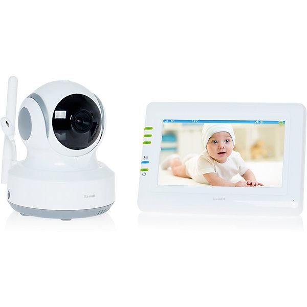 Видеоняня Ramili Baby RV900Видеоняни<br>Видеоняня Ramili Baby RV900 с дальностью приёма до 300 метров и системой подавления помех от известного английского производителя товаров для детей. Устройство оснащено сенсорным экраном диагональю 11 см и управляемой удаленно поворотной камерой. Современная цифровая технология надежной и защищенной связи между родительским и детским блоками обеспечивает безопасность и 100% приватность. <br>Видеоняня Ramili Baby RV900 оснащена системой активации при обнаружении плача (VOX) с настройкой чувствительности, которая позволяет экономить заряд аккумулятора и которую можно отключить для непрерывного мониторинга. Также в видеоняню Ramili встроен «умный» детектор движения, благодаря которому камера, отслеживая движение ребенка, автоматически поворачивается вслед за ним. Так что ваш малыш точно не выйдет из кадра.<br><br>Особенности:<br>Защищенная связь - 100% приватность<br>Цифровой зум<br>Колыбельные мелодии<br>Таймер кормления<br>Термометр измеряет температуру воздуха в детской, значение Отображается на экране родительского блока<br>Регулировка яркости экрана<br>Подключение до 4 камер<br>Автоматическое или ручное переключение между камерами<br>Ёмкий аккумулятор внутри родительского блока<br>Оповещение о низком заряде аккумулятора<br>Оповещение о выходе из зоны приёма<br>Возможно крепление на стене любого блока<br>Сенсорный экран<br>Ночное видение<br>Система защиты от помех<br><br>Дополнительная информация:<br><br>Детский блок с камерой:<br>Дальность действия: до 300 м<br>Датчик изображения: цветной CMOS<br>Объектив: f 3.0mm, F 2.4<br>Инфракрасные светодиоды: 8 штук<br>Датчик температуры: от 0°C до 40°C<br>Размеры: 85x110x100 мм, <br>Вес: 223 г.<br>Встроенный сервопривод видеокамеры позволяет управлять углом наклона и поворота с родительского блока<br><br>Родительский блок<br>Дисплей: 4.3 дюйма<br>Размеры: 128x90x25.5 мм<br>Вес: 193 г.<br><br>Комплектация: <br>Приемное устройство с экраном 4,3 дюйма.<br>Беспроводная видеокамера.<br>Ада