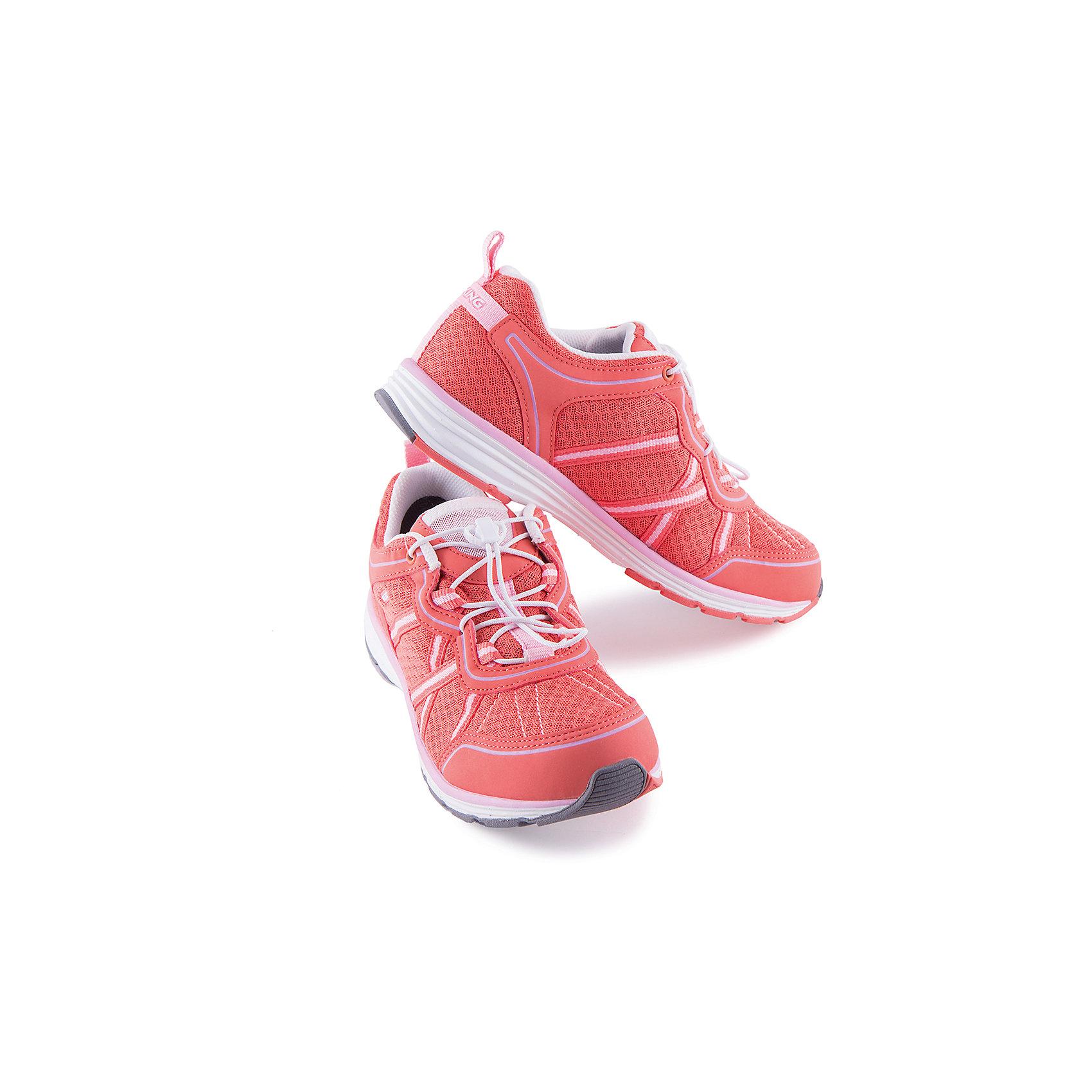 Кроссовки для девочки VIKINGКроссовки для девочки от марки VIKING - прекрасный вариант для активного отдыха или спортивных занятий! Модель на шнуровке с утяжкой очень удобно снимать и надевать. Рифленая подошва и небольшой каблук обеспечат комфорт, устойчивость и отличное сцепление с поверхностью. Кроссовки выполнены из высококачественных материалов, имеют текстильные вставки позволяющие воздуху свободно циркулировать. Прекрасный вариант для вашего ребенка. <br><br>Дополнительная информация:<br><br>- Тип застежки:  шнуровка с утяжкой. <br>- Декоративные элементы:  логотип бренда.<br>- Рифленая подошва.<br>- Стирка: щадящий режим, 30 ?.<br>Параметры для размера 34.<br>- Толщина подошвы: 1,8 см <br>- Высота каблука: 2,5 см.<br>Состав:<br>текстиль, искусственная кожа, этиленвинилацетат, натуральная резина.<br><br>Кроссовки для девочки VIKING (Викинг) можно купить в нашем магазине.<br><br>Ширина мм: 262<br>Глубина мм: 176<br>Высота мм: 97<br>Вес г: 427<br>Цвет: красный<br>Возраст от месяцев: 120<br>Возраст до месяцев: 132<br>Пол: Женский<br>Возраст: Детский<br>Размер: 34,35,37,36<br>SKU: 4233309