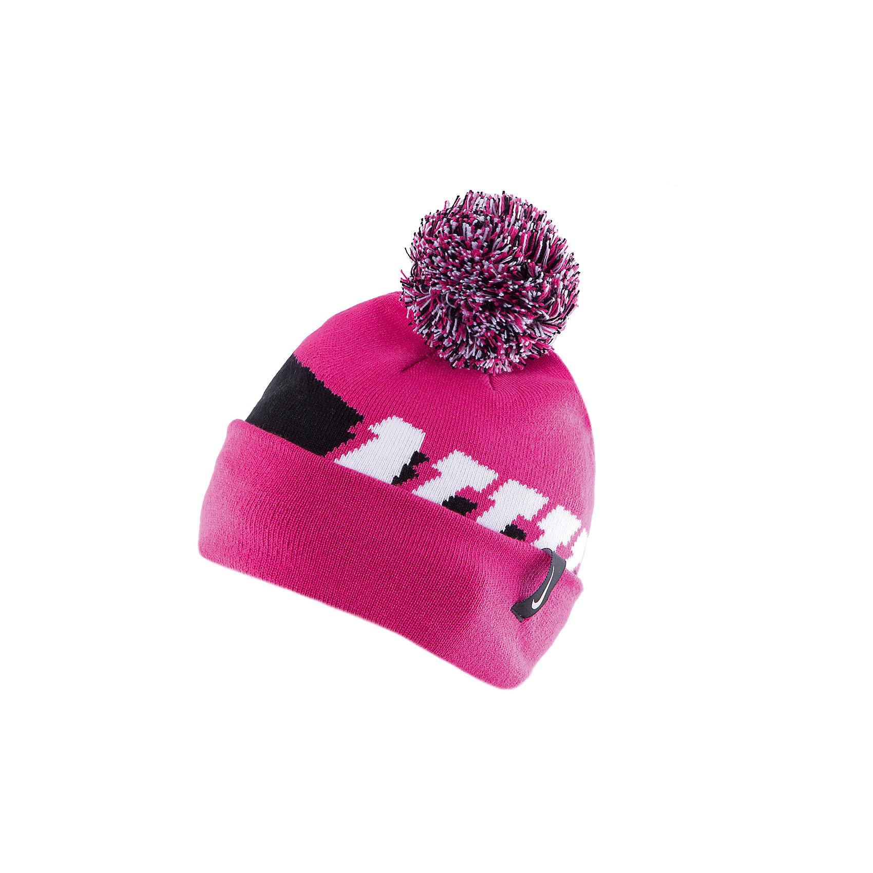 Шапка для девочки NIKE SEASONAL POM BEANIE YTH NIKEДемисезонные<br>Двусторонняя шапка  от известного бренда Nike выполнена из акрила, прекрасно сохраняет тепло, очень приятна к телу, не вытягивается. Шапка декорирована контрастным принтом и объемным помпоном. Прекрасный вариант для прохладной погоды! <br><br>Дополнительная информация:<br><br>- Двухсторонняя шапка.<br>- Цвет: розовый, белый, черный.<br>- Сезон: демисезонная.<br>- Температурный режим: от + 5? до 0? <br>- Декоративные элементы: помпон, логотип. <br>Параметры:<br>- Глубина: 22 см.<br><br>Состав:<br>акрил 96%, нейлон 3%, эластан, 1%<br><br>Шапку для девочки NIKE SEASONAL POM BEANIE YTH, NIKE (Найк) можно купить в нашем магазине.<br><br>Ширина мм: 89<br>Глубина мм: 117<br>Высота мм: 44<br>Вес г: 155<br>Цвет: розовый<br>Возраст от месяцев: 84<br>Возраст до месяцев: 144<br>Пол: Женский<br>Возраст: Детский<br>Размер: one size<br>SKU: 4233493