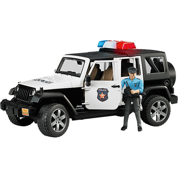Внедорожник Jeep Wrangler Полиция с фигуркой, BruderМашинки<br>Внедорожник Jeep Wrangler Полиция с фигуркой, Bruder (Брудер) – это реалистичный игровой набор со звуковыми и световыми эффектами.<br>Игровой набор от немецкого производителя игрушек Bruder (Брудер) представлен полицейским внедорожником, фигуркой полицейского, мигалкой и разнообразными аксессуарами. Внедорожник Jeep Wrangler выполнен в виде спецтранспорта полицейской службы, поэтому имеет соответствующий цвет кузова и декоративные надписи. Помимо открывающихся дверей, багажника, заднего окна и капота, а также съемного тента и задних сидений, у машинки есть работающая рулевая передача - передние колеса поворачиваются вслед за рулем. Машинкой можно управлять через открытый люк в крыше при помощи специального рычага, который удлиняет рулевую стойку. На передних и задних осях внедорожника установлены амортизаторы, позволяющие машине ездить даже по неровной поверхности, преодолевая различные препятствия. Прорезиненные колеса джипа выполнены очень правдоподобно, они дополнены стильными дисками и имеют рельефные протекторы. На задней двери находится запасное колесо. На внедорожник можно установить мигалку, которая работает в 4 звуковых режимах (звук работающего двигателя или один из трех видов сирены) и светится. Фигурка полицейского выполнена в отличном качестве, все детали тщательно проработаны. Руки и ноги игрушки подвижны, пазы на руках могут удерживать руль машинки и аксессуары из набора. В экипировку полицейского входят ремень, наручники, рация, фонарик, дубинка, пистолет и фуражка. Универсальный ремень пристегивается к фигурке при помощи специальной застежки и имеет места для крепления аксессуаров. Фуражку можно снимать и надевать. Продукция сертифицирована, экологически безопасна для ребенка, использованные красители не токсичны и гипоаллергенны.<br><br>Дополнительная информация:<br><br>- В комплекте: машинка, фигурка полицейского, универсальная мигалка, аксессуары, инструкция<br>- Размер внедорожника: 