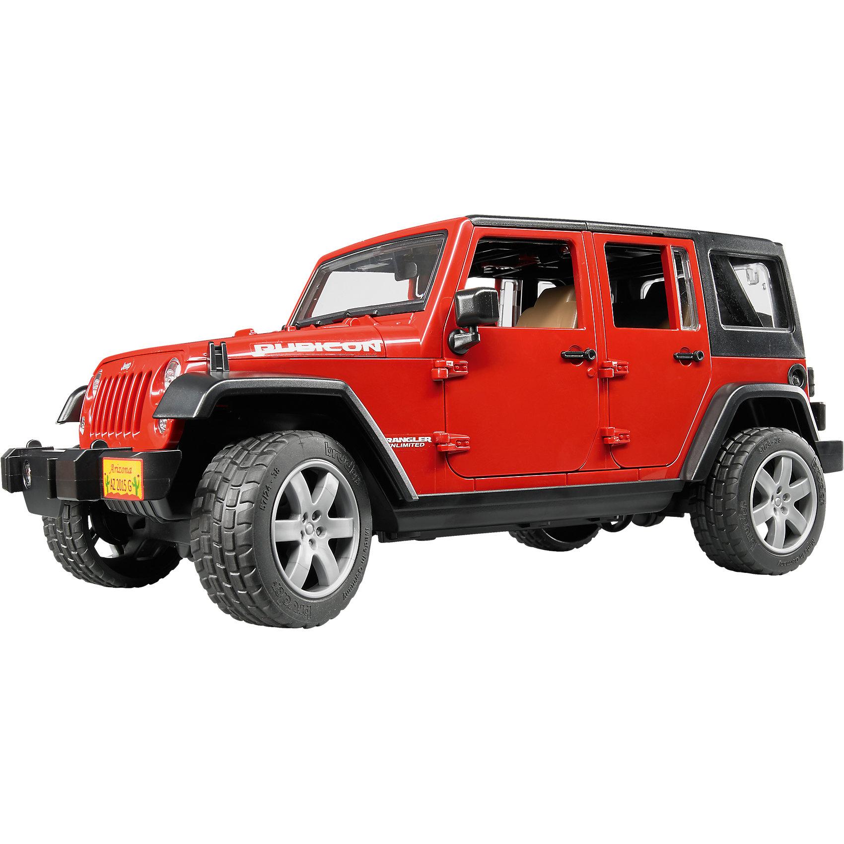 Внедорожник Jeep Wrangler, BruderМашинки<br>Внедорожник Jeep Wrangler, Bruder (Брудер) – игрушка, выполненная в строгом соответствии и с соблюдением всех особенностей настоящего авто.<br>Внедорожник Jeep Wrangler от немецкого производителя игрушек Bruder (Брудер) станет не только основой для интереснейших сюжетных игр, но и прекрасным экземпляром в коллекции Вашего ребенка. Помимо открывающихся дверей, багажника, заднего окна и капота, а также съемного тента и задних сидений, у машинки есть работающая рулевая передача - передние колеса поворачиваются вслед за рулем. Машинкой можно управлять через открытый люк в крыше при помощи специального рычага, который удлиняет рулевую стойку. На передних и задних осях внедорожника установлены амортизаторы, позволяющие машине ездить даже по неровной поверхности, преодолевая различные препятствия. Прорезиненные колеса джипа выполнены очень правдоподобно, они дополнены стильными дисками и имеют рельефные протекторы. Передние фары изготовлены из прочного прозрачного стекла. На задней двери находится функциональное запасное колесо. На заднем бампере расположено крепление, предназначенное для прикрепления прицепов. Игрушка изготовлена из высококачественного пластика, устойчивого к износу и ударам. Продукция сертифицирована, экологически безопасна для ребенка, использованные красители не токсичны и гипоаллергенны.<br><br>Дополнительная информация:<br><br>- Длина внедорожника: 31 см.<br>- Масштаб 1:16<br>- Материал: высококачественный пластик<br>- Цвет: хаки, черный<br>- Размер упаковки: 32,9 x 14,2 x 14,4 см.<br>- Вес: 1,05 кг.<br><br>Внедорожник Jeep Wrangler, Bruder (Брудер) можно купить в нашем интернет-магазине.<br><br>Ширина мм: 381<br>Глубина мм: 185<br>Высота мм: 162<br>Вес г: 929<br>Возраст от месяцев: 36<br>Возраст до месяцев: 96<br>Пол: Мужской<br>Возраст: Детский<br>SKU: 4233754