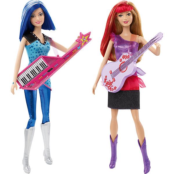 Кукла Barbie Рок-принцесса, в ассортиментеBarbie<br>Кукла Barbie Рок-принцесса, в ассортименте - кукла в ослепительном наряде рок-звезды понравится любой девочке!<br>В фильме «Барби Рок-принцесса» происходит столкновение двух разных миров, когда из-за путаницы принцесса и рок-звезда по ошибке отправляются не в те летние лагеря, в которые собирались! Но в конечном итоге девочки с радостью признают свои различия, обретают свои настоящие голоса и верных друзей и понимают, что нет ничего невозможного, когда они действуют сообща! Девочкам понравится воссоздавать сцены из этой увлекательной истории, играя с куклами рок-звездами, которые готовы дать потрясающее выступление, используя их гламурные музыкальные инструменты. Куклы одеты в потрясающие наряды, идеально подходящие для любой сцены: первая блистает в блестящей синей рубашке с кожаными элементами отделки, блестящих синих брюках и высоких серебряных ботиночках, а вторая одета в блестящее фиолетово-красное платье с прозрачной накидкой и фиолетовые ковбойские сапоги. Девочки могут воссоздавать любимые сцены из фильма благодаря этим потрясающим музыкальным куклам или придумывать собственные истории и новые приключения! Собери обеих кукол и других героев фильма, чтобы воссоздавать сцены из мультфильма «Барби Рок-принцесса»!<br><br>Дополнительная информация:<br><br>- В наборе: кукла в наряде и обуви, с одним музыкальным инструментом<br>- В ассортименте: кукла Barbie рок-звезда с украшенной звездами гитарой или кукла Barbie рок-звезда с фиолетовой гитарой в цветочек!<br>- Куклы не могут стоять самостоятельно<br>- Цвета и оформление могут отличаться<br>- Размер упаковки: 32,5 х 14 х 6 см.<br>- ВНИМАНИЕ! Данный артикул представлен в разных вариантах исполнения. К сожалению, заранее выбрать определенный вариант невозможно. При заказе нескольких наборов возможно получение одинаковых<br><br>Куклу Barbie Рок-принцесса, в ассортименте можно купить в нашем интернет-магазине.<br>Ширина мм: 325; Глубина мм: 140; Высота мм: 60; Вес г