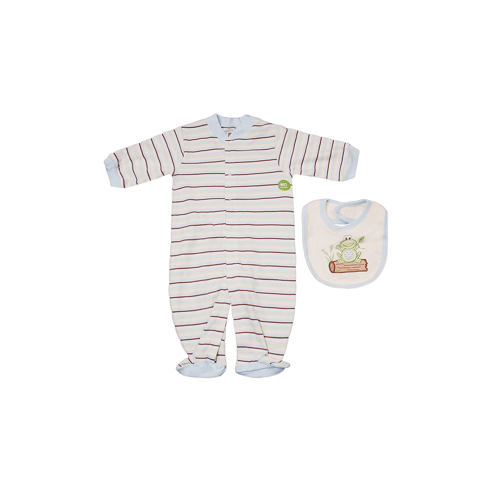 Hudson Baby Комплект для мальчика: комбинезон и нагрудник для мальчика Hudson Baby