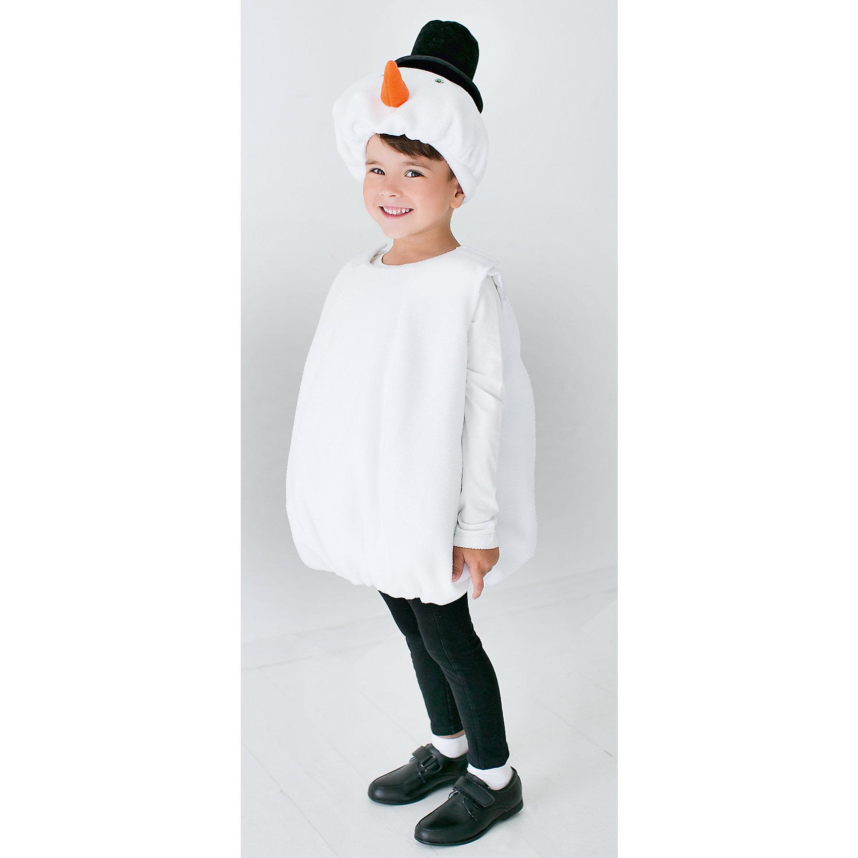 Карнавальный костюм для мальчика Снеговик, ВестификаМаски и карнавальные костюмы<br>Карнавальный костюм для мальчика Снеговик. В комплект входит шапочка и комбинезон.<br>Состав:<br>Верх-100% полиэстер;<br>Подкладка-100% хлопок.<br><br>Ширина мм: 236<br>Глубина мм: 16<br>Высота мм: 184<br>Вес г: 177<br>Цвет: белый<br>Возраст от месяцев: 48<br>Возраст до месяцев: 72<br>Пол: Мужской<br>Возраст: Детский<br>Размер: 104/116,128/134<br>SKU: 4234715
