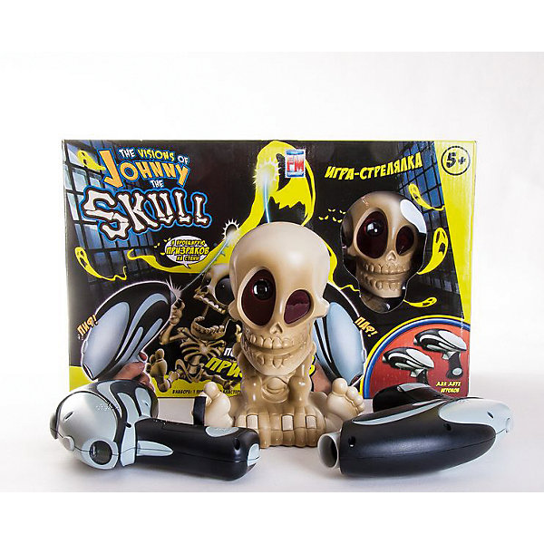 Проекционный тир Джонни-Черепок с 2-мя бластерами, Johnny the SkullИгрушечные пистолеты и бластеры<br>Интерактивный тир для двух игроков, выполненный в форме очаровательного скелета Johnny The Skull. В комплект входит два бластера: теперь ничто не помешает устроить соревнование по охоте за приведениями со своими друзьями. Наведите бластер на Джонни, и он начнёт проецировать призраков на разные части помещения. Ваша задача — стрелять по ним. В бластер встроен счётчик попаданий.<br><br>Дополнительная информация: <br><br>- Материал: пластик.<br>- Элемент питания: 6  ААА батареек; 4 АА батарейки (в комплект не входят).<br>- Безопасный интерактивный тир для детей<br>- Голова скелета вращается.<br>- Эргономичная форма бластера подойдёт для детей любого возраста.<br>- Комплектация: бластер, череп, инструкция. <br>- Максимальная дистанция для бластера: 2,5 м<br>- Играть в темной комнате.<br>- Размер: 16х41х13 см.<br><br>Проекционный тир Джонни-Черепок с 2-мя бластерами, Johnny the Skull, можно купить в нашем магазине.<br>Ширина мм: 410; Глубина мм: 160; Высота мм: 130; Вес г: 1085; Возраст от месяцев: 36; Возраст до месяцев: 144; Пол: Мужской; Возраст: Детский; SKU: 4234763;