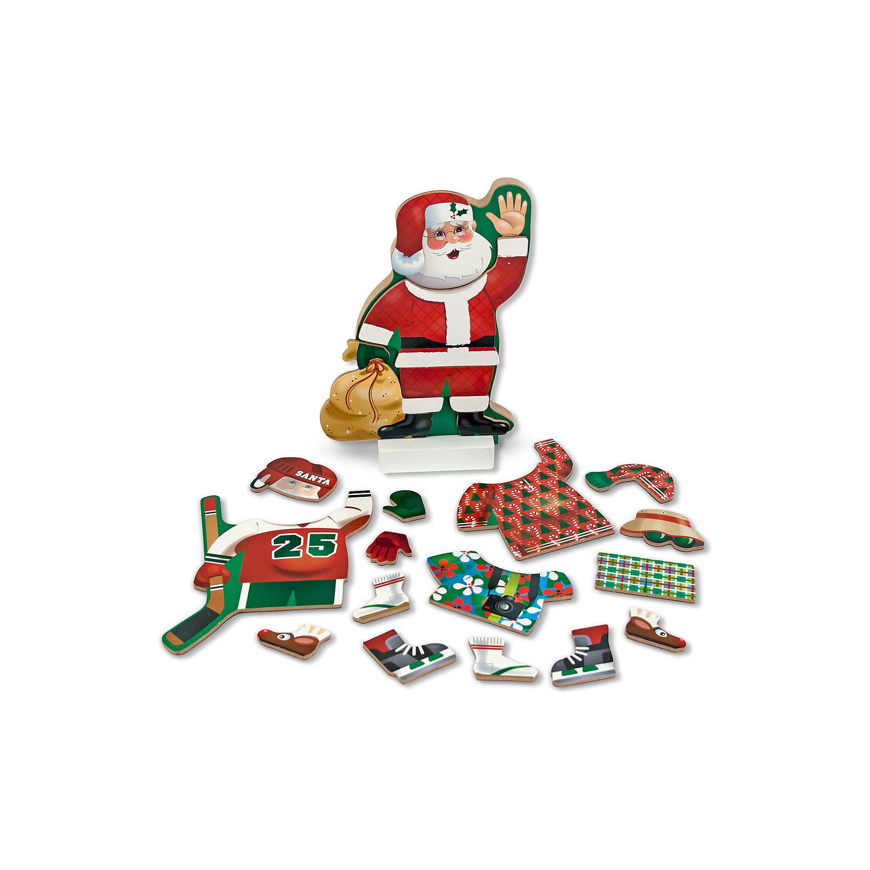 Магнитная игра Переодень Санту, Melissa &amp; DougМагнитная игра Переодень Санту, Melissa &amp; Doug (Мелисса и Даг) состоит из 21 элемента одежды на магнитной основе, с помощью которых можно создавать различные образы Санта Клауса. Пусть Ваш малыш подберет Санте подходящий костюм для каждого случая, например, игры в хоккей или отдыха! В процессе игры ребенок приобретет аккуратность, точность движений, разовьет мелкую моторику и воображение. <br><br>Комплектация: фигурка Санта Клауса, 21 элемент одежды на магнитах<br><br>Дополнительная информация:<br>-Материалы: дерево, прессованный картон, ПВХ<br>-Вес в упаковке: 815 г<br>-Размеры в упаковке: 30х30х22 см<br> <br>Яркий и интересный набор станет неожиданным и приятным подарком для Вашего ребенка и займет его на долгое время в увлекательной игре!<br><br>Магнитная игра Переодень Санту, Melissa &amp; Doug (Мелисса и Даг) можно купить в нашем магазине.<br><br>Ширина мм: 300<br>Глубина мм: 300<br>Высота мм: 220<br>Вес г: 815<br>Возраст от месяцев: 24<br>Возраст до месяцев: 60<br>Пол: Унисекс<br>Возраст: Детский<br>SKU: 4235396