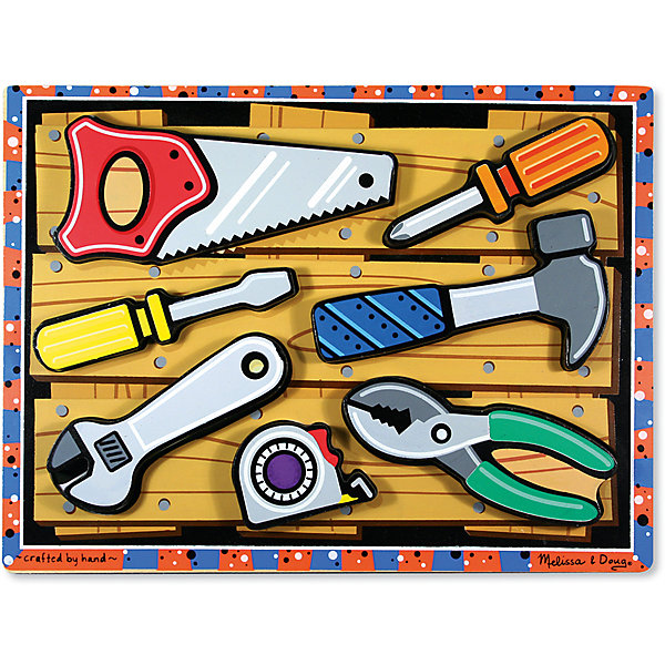 Рамка-вкладыш Иструменты, Melissa &amp; DougРамки-вкладыши<br>Рамка-вкладыш Инструменты, Melissa &amp; Doug (Мелисса и Даг) станет первым шагом к складыванию пазлов и заложит интерес к другим видам развивающих игрушек. Набор включает в себя 7 деталей, объемные фигурки инструментов, каждый из которых раскрашен в цвета, изображенные под деталями. Суть игры заключается в том, что ребенок вынимает из планшета-рамки изображения инструментов. А затем деталь должна быть помещена обратно на свое место, при этом для ребенка важно правильно подобрать вкладыш к рамке, точно его повернуть и вставить. <br><br>Характеристики:<br>-Игра поможет познакомиться и легко выучить названия всех инструментов<br>-Фигурки инструментов могут использоваться для отдельной игры, при рисовании как трафареты<br>-Развивает: мелкая моторика и координация движений, глазомер и визуальное восприятие, творческое самовыражение, логическое мышление, зрительная память, цветовосприятие<br><br>Дополнительная информация:<br>-Материалы: дерево, картон, краски<br>-Вес в упаковке: 725 г<br>-Размеры в упаковке: 21х10х27 см<br>-Размер рамки: 2,5x23x31 см<br><br>Рамка-вкладыш Инструменты, Melissa &amp; Doug (Мелисса и Даг) можно купить в нашем магазине.<br>Ширина мм: 210; Глубина мм: 100; Высота мм: 270; Вес г: 725; Возраст от месяцев: 24; Возраст до месяцев: 60; Пол: Унисекс; Возраст: Детский; SKU: 4235397;