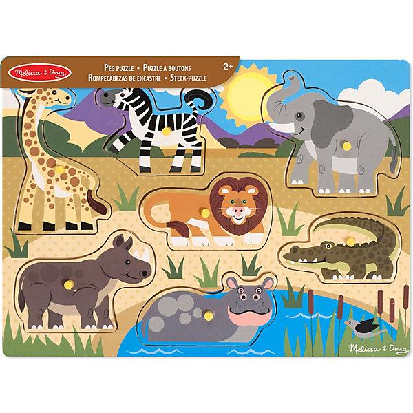 Рамка-вкладыш Сафари, Melissa &amp; DougРамки-вкладыши<br>Замечательная развивающая Рамка-вкладыш Сафари, Melissa &amp; Doug (Мелисса и Даг) представляет собой игровое поле с дикими животными Африки, которых нужно разместить на свои места. У вкладыша есть слой-подсказка с рисунком каждого животного. Параллельно ребенок знакомится с названиями африканских животных, узнает какой они окраски и размеров. <br><br>Характеристики:<br>-Яркая безопасная деревянная развивающая игрушка для самых маленьких<br>-Игра поможет познакомиться и легко выучить названия животных сафари<br>-Фигурки могут использоваться для отдельной игры: при рисовании как трафареты, изучать свойства (маленький, большой, хищный, сильный, слабый, высокий, низкий), играть сценки из сказок<br>-Развивает: мелкая моторика и координация движений, глазомер и визуальное восприятие, творческое самовыражение, логическое мышление, зрительная память, цветовосприятие<br>-Фигурки очень удобны для маленьких ручек<br><br>Дополнительная информация:<br>-Материалы: дерево, краски, картон<br>-Вес в упаковке: 295 г<br>-Размеры в упаковке: 30х10х22 см<br><br>Замечательная рамка вкладыш «Сафари» станет первым пазлом Вашего малыша и познакомит его с животными сафари, а также научит понятиям целое и часть!<br><br>Рамка-вкладыш Сафари, Melissa &amp; Doug (Мелисса и Даг) можно купить в нашем магазине.<br><br>Ширина мм: 300<br>Глубина мм: 100<br>Высота мм: 220<br>Вес г: 295<br>Возраст от месяцев: 24<br>Возраст до месяцев: 60<br>Пол: Унисекс<br>Возраст: Детский<br>SKU: 4235401