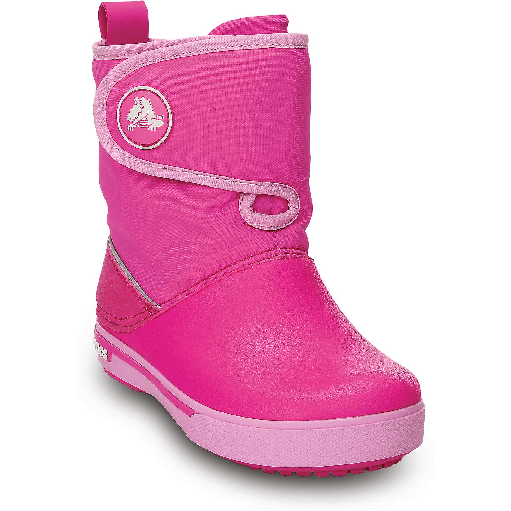 Сапоги Crocband Gust Boot  для девочки CrocsХарактеристики товара:<br><br>• цвет: розовый<br>• материал: верх - нейлон, низ -100% полимер Croslite™<br>• материал подкладки: текстиль<br>• непромокаемая носочная часть<br>• температурный режим: от -15° до +15° С<br>• легко очищаются<br>• антискользящая подошва<br>• застежка: липучка<br>• толстая устойчивая подошва<br>• страна бренда: США<br>• страна изготовитель: Китай<br><br>Сапоги могут быть и стильными, и теплыми! Для детской обуви крайне важно, чтобы она была удобной. Такие сапоги обеспечивают детям необходимый комфорт, а теплая подкладка создает особый микроклимат. Сапоги легко надеваются и снимаются, отлично сидят на ноге. Материал, из которого они сделаны, не дает размножаться бактериям, поэтому такая обувь препятствует образованию неприятного запаха и появлению болезней стоп. Данная модель особенно понравится детям - ведь в них можно бегать по лужам!<br>Обувь от американского бренда Crocs в данный момент завоевала широкую популярность во всем мире, и это не удивительно - ведь она невероятно удобна. Её носят врачи, спортсмены, звёзды шоу-бизнеса, люди, которым много времени приходится бывать на ногах - они понимают, как важна комфортная обувь. Продукция Crocs - это качественные товары, созданные с применением новейших технологий. Обувь отличается стильным дизайном и продуманной конструкцией. Изделие производится из качественных и проверенных материалов, которые безопасны для детей.<br><br>Сапоги от торговой марки Crocs можно купить в нашем интернет-магазине.<br><br>Ширина мм: 257<br>Глубина мм: 180<br>Высота мм: 130<br>Вес г: 420<br>Цвет: розовый<br>Возраст от месяцев: 132<br>Возраст до месяцев: 144<br>Пол: Женский<br>Возраст: Детский<br>Размер: 34/35,26,31/32,33/34<br>SKU: 4235584