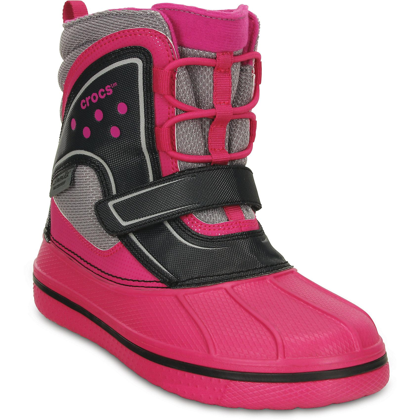 Полусапоги llCast Waterproof Boot GS  для девочки CrocsХарактеристики товара:<br><br>• цвет: розовый<br>• материал: верх - полимер, текстиль, низ -100% полимер Croslite™<br>• материал подкладки: текстиль<br>• светоотражающие элементы<br>• непромокаемая носочная часть<br>• температурный режим: от -15° до +15° С<br>• легко очищаются<br>• антискользящая подошва<br>• застежка: липучка<br>• толстая устойчивая подошва<br>• страна бренда: США<br>• страна изготовитель: Китай<br><br>Ботинки могут быть и стильными, и теплыми! Для детской обуви крайне важно, чтобы она была удобной. Такие ботинки обеспечивают детям необходимый комфорт, а теплая подкладка создает особый микроклимат. Ботинки легко надеваются и снимаются, отлично сидят на ноге. Материал, из которого они сделаны, не дает размножаться бактериям, поэтому такая обувь препятствует образованию неприятного запаха и появлению болезней стоп. Данная модель особенно понравится детям - ведь в них можно бегать по лужам!<br>Обувь от американского бренда Crocs в данный момент завоевала широкую популярность во всем мире, и это не удивительно - ведь она невероятно удобна. Её носят врачи, спортсмены, звёзды шоу-бизнеса, люди, которым много времени приходится бывать на ногах - они понимают, как важна комфортная обувь. Продукция Crocs - это качественные товары, созданные с применением новейших технологий. Обувь отличается стильным дизайном и продуманной конструкцией. Изделие производится из качественных и проверенных материалов, которые безопасны для детей.<br><br>Ботинки от торговой марки Crocs можно купить в нашем интернет-магазине.<br><br>Ширина мм: 262<br>Глубина мм: 176<br>Высота мм: 97<br>Вес г: 427<br>Цвет: розовый<br>Возраст от месяцев: 144<br>Возраст до месяцев: 156<br>Пол: Женский<br>Возраст: Детский<br>Размер: 36,30,27,26,38,37,32,29,34,28,33<br>SKU: 4235589