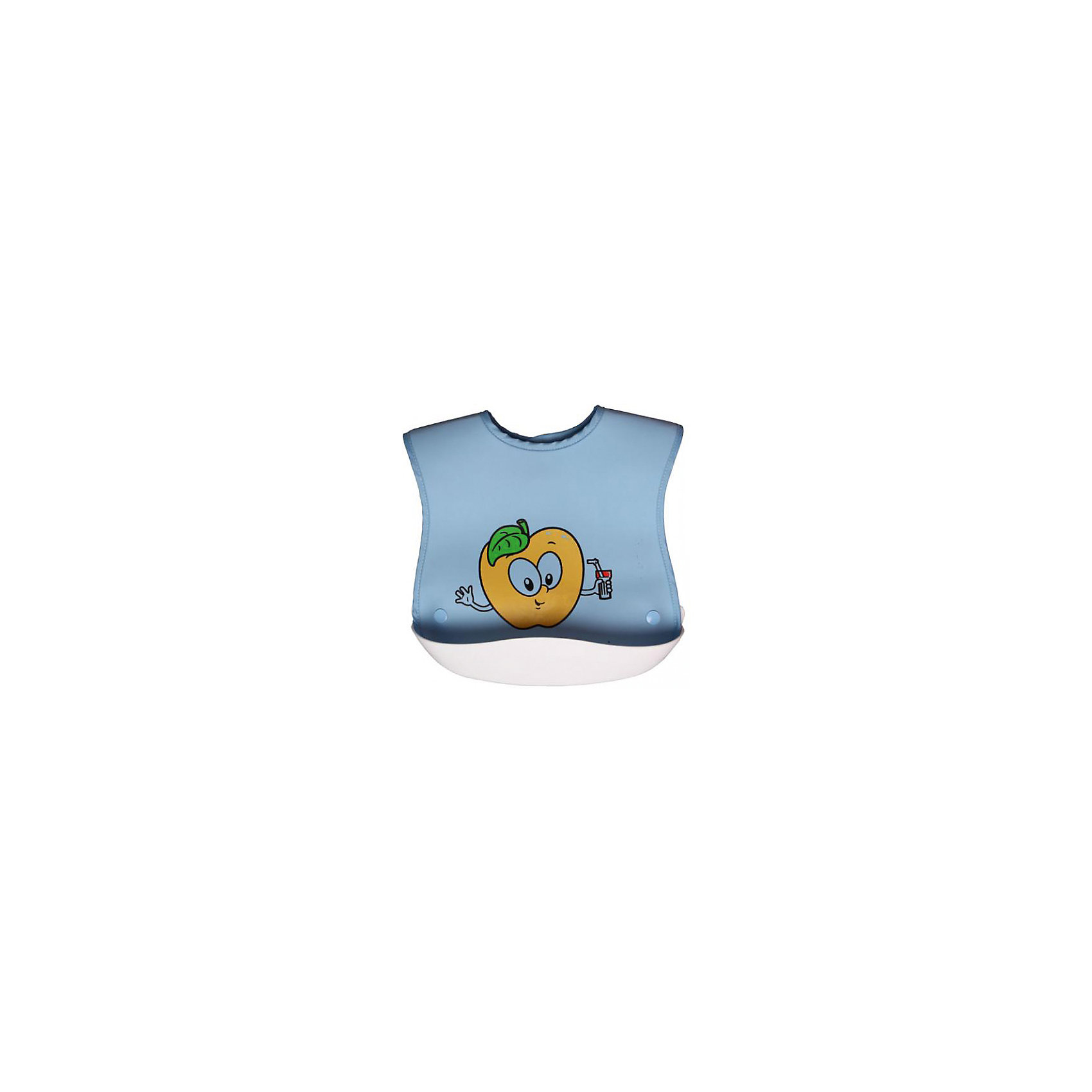 Нагрудник с кармашком прорезиненный Sevi baby, голубой