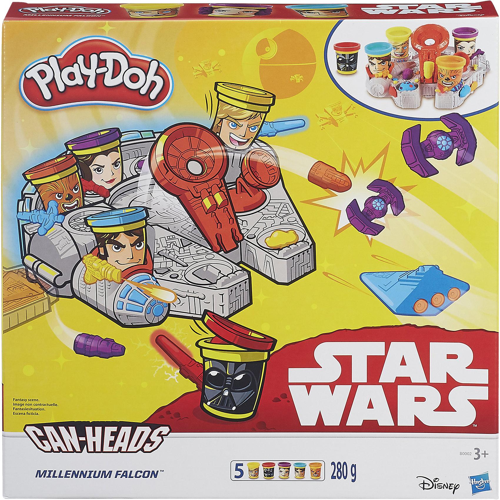 Игровой набор Тысячелетний Сокол, Play-DohИгровой набор Тысячелетний Сокол, Play-Doh(Плей-До) – набор обязательно понравится поклонникам знаменитой киноэпопеи Звездные Войны!<br>Игровой набор «Тысячелетний сокол» – набор пластилина Play-Doh с героями Звездных войн, с помощью которого можно воссоздать сюжеты из фильма. На баночках пластилина Play-Doh нарисованы герои киноэпопеи Star Wars вместе, с которыми можно пуститься в путешествие по галактике. Для того чтобы защищаться и атаковать противников, используйте штампы, складные формы и полуформы для создания различных метеоритов, звёздных истребителей и много другого. Установите баночки с изображением Чубакки, Скайуокера, Хана Соло, Принцессы Лею, Дарта Мола в специальные места на корабле и отправляйтесь навстречу новым приключениям с любимыми героями. Чтобы с помощью катапульты запустить в полет свои творения, необходимо нажать на героя-баночку Play-Doh. С этим набором ребенку никогда не будет скучно! Пластилин Play-Doh создан из натуральных материалов с применением пищевых компонентов, что делает его совершенно безопасным для здоровья детей. Даже если ребенок проглотит кусочек, это ему совершенно не навредит. Пластилин Play-Doh быстро застывает, но стоит добавить немного воды и снова можно лепить. Кроме того, он имеет приятный запах, не прилипает к рукам и не пачкает одежду!<br><br>Дополнительная информация:<br><br>- В комплекте: 5 баночек с пластилином play-doh общей массой 280 грамм, установка с пусковым механизмом, 5 съемных штампов<br>- Материал: пластмасса<br><br>Игровой набор Тысячелетний Сокол, Play-Doh можно купить в нашем интернет-магазине.<br><br>Ширина мм: 335<br>Глубина мм: 335<br>Высота мм: 73<br>Вес г: 937<br>Возраст от месяцев: 36<br>Возраст до месяцев: 60<br>Пол: Мужской<br>Возраст: Детский<br>SKU: 4237142