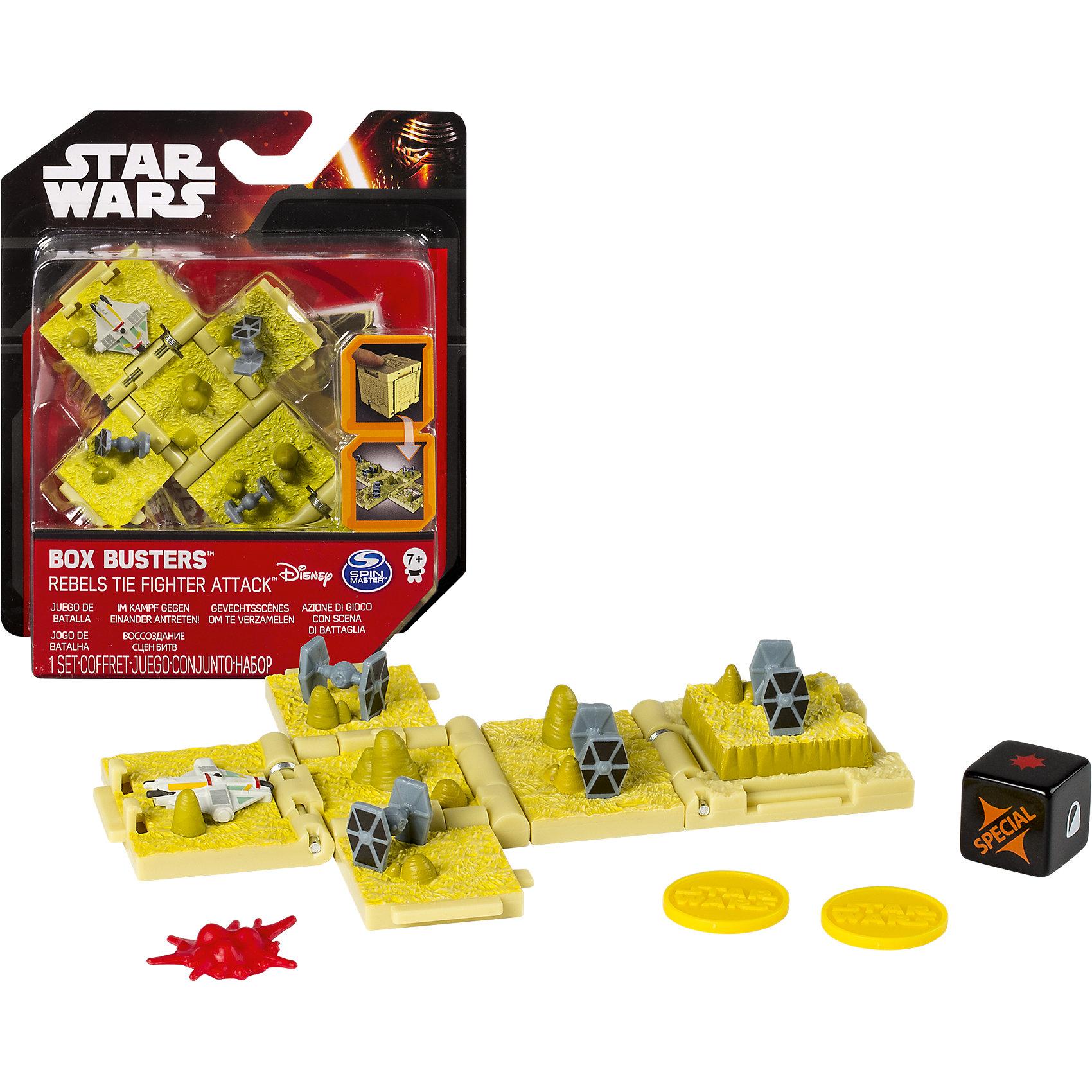 Боевые кубики, Звездные войныЛюбимые герои<br>Боевые кубики, Звездные войны - это уникальная стратегическая игра, с которой можно погрузиться в мир Звездных войн.<br>Внутри небольшого кубика скрывается компактная настольная игра, воспроизводящая батальную сцену из космической саги о Звездных войнах. Это может быть легендарная битва в джунглях Эндора, штурм базы повстанцев на ледяном Хоте, космическое сражение при Явине или атака имперских истребителей на корабль Сопротивления. Выбирайте цель и смело бросайте игровые кости, чтобы устроить полное поражение своему противнику! А когда игра закончена, поле-развертка снова собирается в кубик.<br><br>Дополнительная информация:<br><br>- В наборе: один кубик, карта для игры, игровые кости<br>- В ассортименте представлено 4 различных кубика<br>- Количество игроков: 2<br>- Размер кубика в собранном виде: 4 x 4 x 4 см.<br>- Размер кубика в разобранном виде: 14 x 9 x 4 см.<br>- Материал: пластик<br>- Размеры упаковки: 15,8 х 4 х 14 см.<br>- Вес: 150 гр.<br>- ВНИМАНИЕ! Данный артикул представлен в разных вариантах исполнения. К сожалению, заранее выбрать определенный вариант невозможно. При заказе нескольких наборов возможно получение одинаковых<br><br>Боевые кубики, Звездные войны можно купить в нашем интернет-магазине.<br><br>Ширина мм: 160<br>Глубина мм: 139<br>Высота мм: 43<br>Вес г: 99<br>Возраст от месяцев: 84<br>Возраст до месяцев: 228<br>Пол: Мужской<br>Возраст: Детский<br>SKU: 4238272
