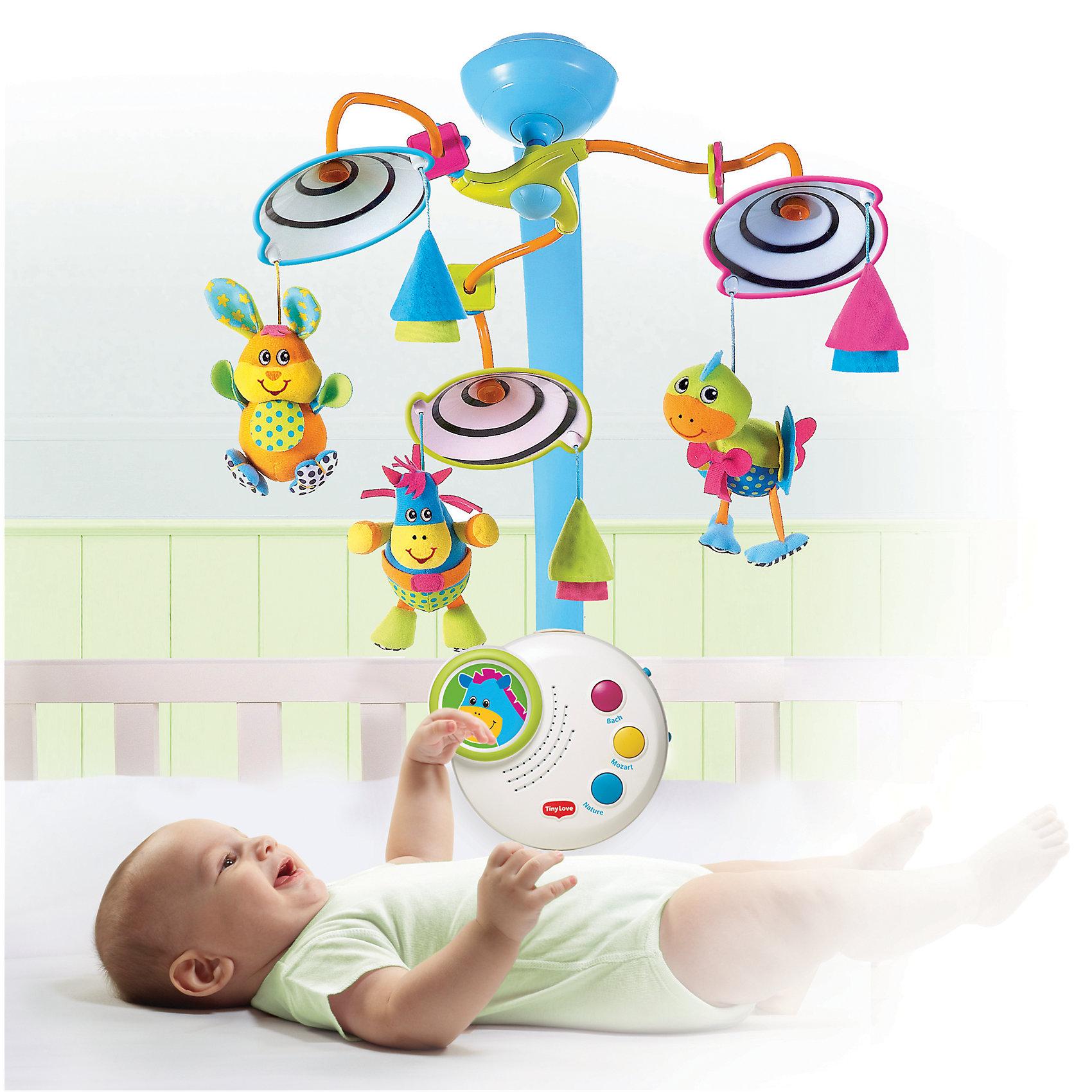 Классический мобиль, Tiny LoveМобили<br>Классический мобиль от Tiny Love создан опытными разработчиками Tiny Love с учетом психологии и физиологических особенностей маленького ребенка. <br>Удобный блок-пульт управления легко крепится на кроватку,  крутящийся игровой модуль с игрушками находится над головой ребенка. Мобиль состоит из трех «веточек», на конце каждой – цветной зонтик (салатовый, розовый, голубой). Внутри зонтиков - черно-белая спираль, которая способствует развитию умения сосредоточиться и сфокусировать взгляд. Три веселых зверушки: зайка, лошадка, уточка – могут быть использованы отдельно - повесьте их на развивающую дугу или коляску, малышу не придется расставаться с любимыми друзьями нигде.<br>Блок управления содержит кнопки регулировки громкости, а также полностью беззвучный режим. На панели управления располагается фигурка лошадки, представляющая собой ночник со спокойным голубым свечением. Все детали мобиля выполнены из высококачественных материалов, в производстве которых использованы только гипоаллергенные, нетоксичные красители безопасные для детей. <br><br>Дополнительная информация:<br><br>- Материал:<br>- Размер упаковки: 41 х 12 х 34,5 см. <br>- 7 режимов работы:<br>1. включено: вращение под нежную музыку Баха, Моцарта или звуки живой природы - до 20 минут проигрывания мелодии;<br>2. беззвучное вращение игрушек (без ночника, музыки);<br>3. вращение игрушек только под музыку;<br>4. вращение игрушку только под свет ночника;<br>5. использование только освещения;<br>6. проигрывание только мелодий;<br>7. музыка+ночник без вращения.<br>- 3 классических мелодии (общая продолжительность 20 мин).<br>- Надежно крепится. <br>- Элемент питания: 3 батарейки типа C (LR14) ( в комплект не входят).<br><br>Классический мобиль, Tiny Love, можно купить в нашем магазине.<br><br>Ширина мм: 413<br>Глубина мм: 347<br>Высота мм: 126<br>Вес г: 1592<br>Возраст от месяцев: 0<br>Возраст до месяцев: 24<br>Пол: Унисекс<br>Возраст: Детский<br>SKU: 4238452