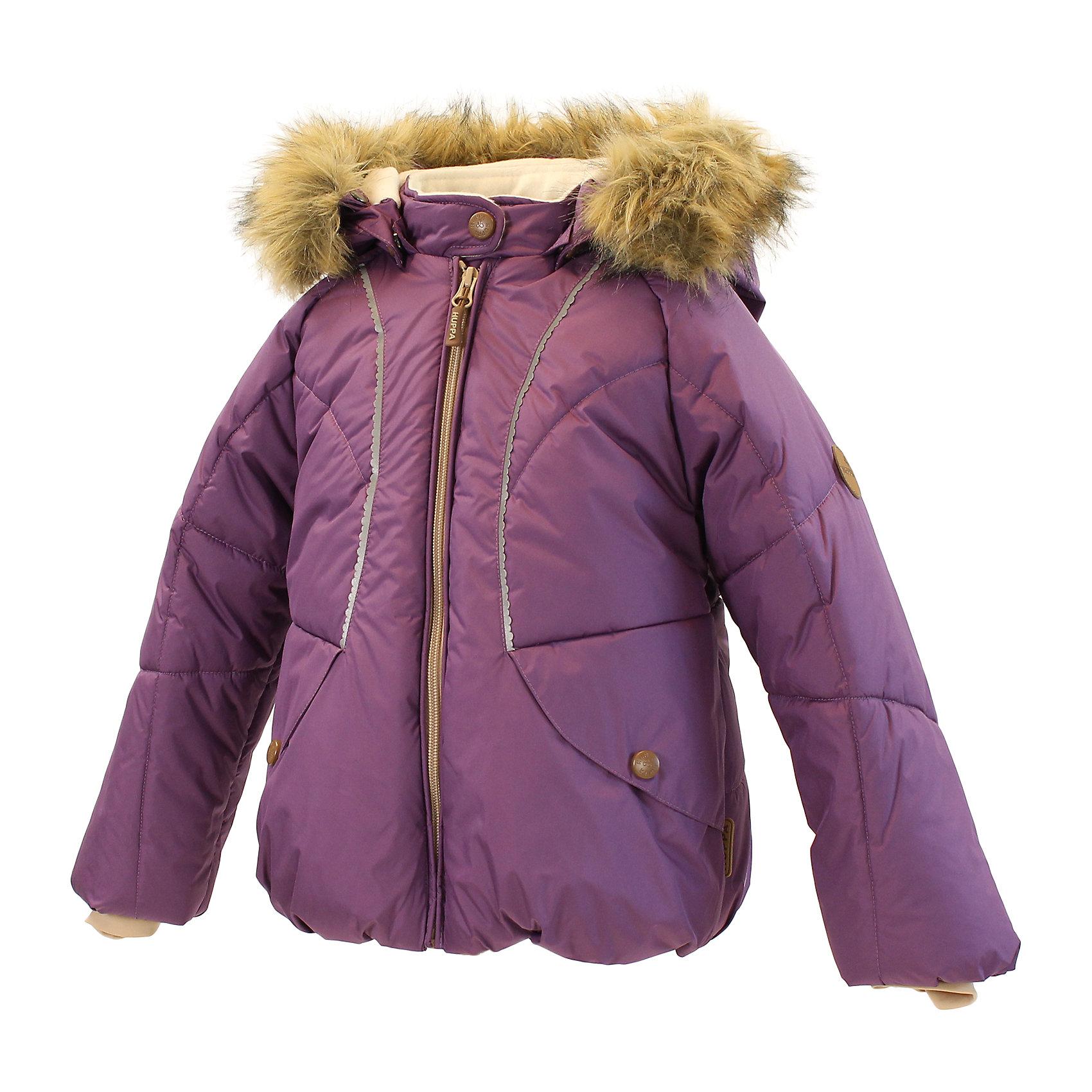 """Куртка для девочки HuppaСтеганая куртка из мягкой ткани с приятно толстым ватином для зимних прогулок маленьких принцесс. Подкладкой для красивой куртки служит """"Coral-fleece"""" в районе тела и подкладка из тафты в рукавах для облегчения прохождения рук. Капюшон с двумя помпонами и съемным мехом защитит от холодного ветра, резинка на рукаве - от снега, а красивые отражатели в форме цветка значительно повышают безопасность при передвижении в более темное время суток. В закрывающиеся на кнопки карманы маленькая принцесса может спрятать самые важные сокровища. <br>Huppa (Хуппа)Therm 300 грамм<br>Высокотехнологичный лёгкий синтетический утеплитель нового поколения, сохраняет объём и высокую теплоизоляцию изделия, а также легко стирается и быстро сохнет.<br>Влагоустойчивая и дышащая ткань 5000/ 5000<br>Мембрана препятствует прохождению воды и ветра сквозь ткань внутрь изделия, позволяя испаряться выделяемой телом, образовывающейся внутри влаге.<br>Светоотражательные детали<br>При плохих погодных условиях или в темноте, когда свет падает на одежду, он отражается, делая ребёнка более заметным, уменьшая возможность несчастных случаев.<br><br>Дополнительная информация:<br><br>Температурный режим: от 0° до -25°С<br>Ткань: 100% полиэстер<br>Подкладка: Coral-fleece смесь хлопка и полиэстра, тафта - 100% полиэстер<br>Утеплитель: 100% полиэстер 300г.<br>Капюшон с отстёгивающимся мехом<br><br>Куртку для девочки Huppa (Хуппа) можно купить в нашем магазине.<br><br>Ширина мм: 356<br>Глубина мм: 10<br>Высота мм: 245<br>Вес г: 519<br>Цвет: фиолетовый<br>Возраст от месяцев: 12<br>Возраст до месяцев: 15<br>Пол: Женский<br>Возраст: Детский<br>Размер: 80,92,86,98,104<br>SKU: 4242208"""