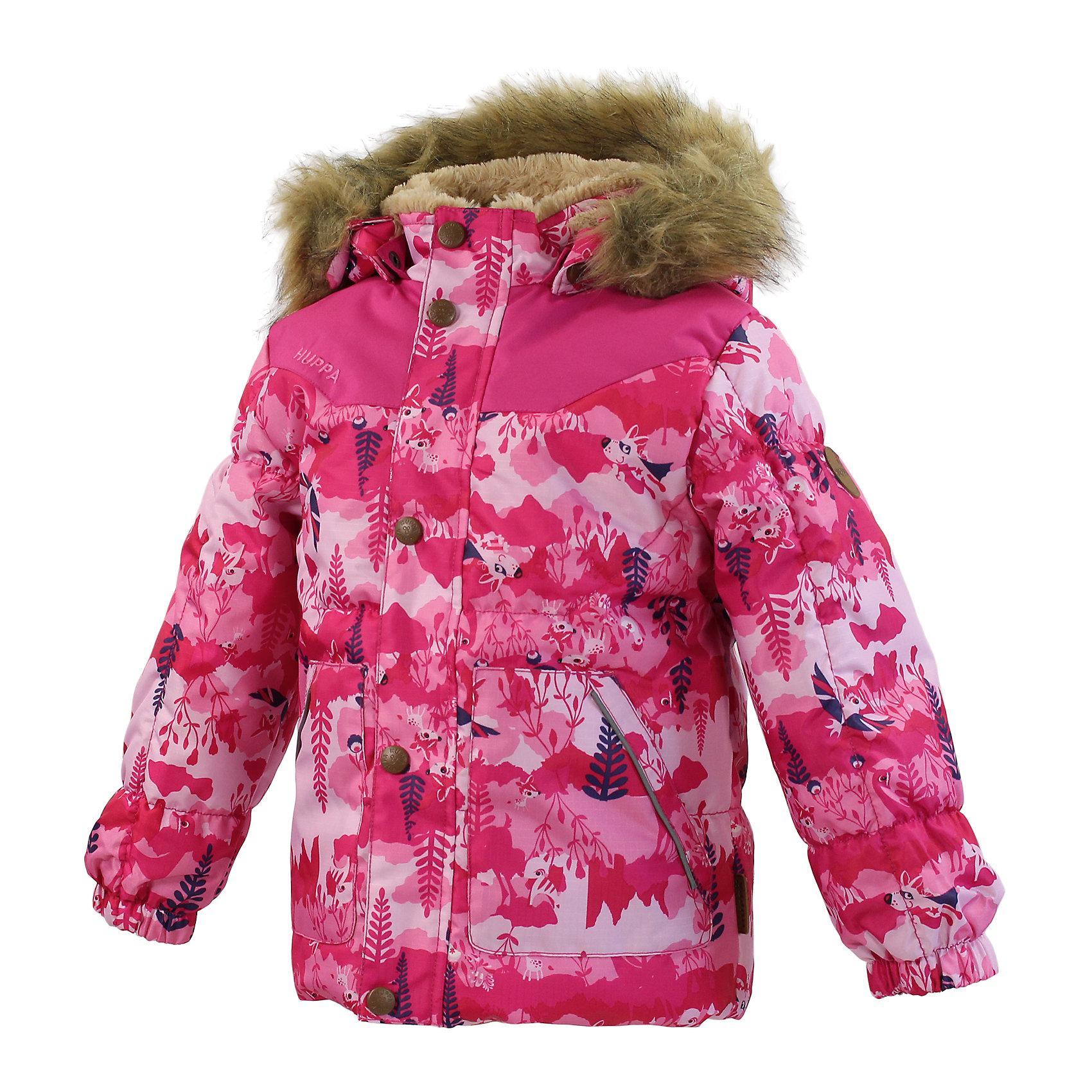 """Куртка для девочки HuppaКуртка из более прочной ткани с достаточно толстым ватином и красивой вышивкой для зимних прогулок малышей. Подкладкой для стеганой куртки с разрезами служит """"Coral-fleece"""" в районе тела и подкладка из тафты в рукавах для облегчения прохождения рук. Капюшон со съемным мехом защитит от холодного ветра, резинка на рукаве - от снега, а отражающие детали на капюшоне и карманах значительно повысят безопасность при передвижении в более темное время суток. В карманы маленькие исследователи могут прятать самые важные находки.<br>Huppa (Хуппа)Therm 200 грамм<br>Высокотехнологичный лёгкий синтетический утеплитель нового поколения, сохраняет объём и высокую теплоизоляцию изделия, а также легко стирается и быстро сохнет.<br>Влагоустойчивая и дышащая ткань 10 000/ 10 000<br>Мембрана препятствует прохождению воды и ветра сквозь ткань внутрь изделия, позволяя испаряться выделяемой телом, образовывающейся внутри влаге.<br>Прочная ткань<br>Сплетения волокон в тканях выполнены по специальной технологии, которая придаёт ткани прочность и предохранят от истирания.<br>Светоотражательные детали<br>При плохих погодных условиях или в темноте, когда свет падает на одежду, он отражается, делая ребёнка более заметным, уменьшая возможность несчастных случаев.<br><br>Дополнительная информация:<br><br>Температурный режим: от 0° до -15°С<br>Ткань: 100% полиэстер<br>Подкладка: Teddy fur- 100% полиэстер, тафта - 100% полиэстер<br>Утеплитель: 100% полиэстер 200г.<br>Капюшон с отстёгивающимся мехом<br><br>Куртку для девочки Huppa (Хуппа) можно купить в нашем магазине.<br><br>Ширина мм: 356<br>Глубина мм: 10<br>Высота мм: 245<br>Вес г: 519<br>Цвет: розовый<br>Возраст от месяцев: 12<br>Возраст до месяцев: 15<br>Пол: Женский<br>Возраст: Детский<br>Размер: 80,98,92,86,104<br>SKU: 4242226"""