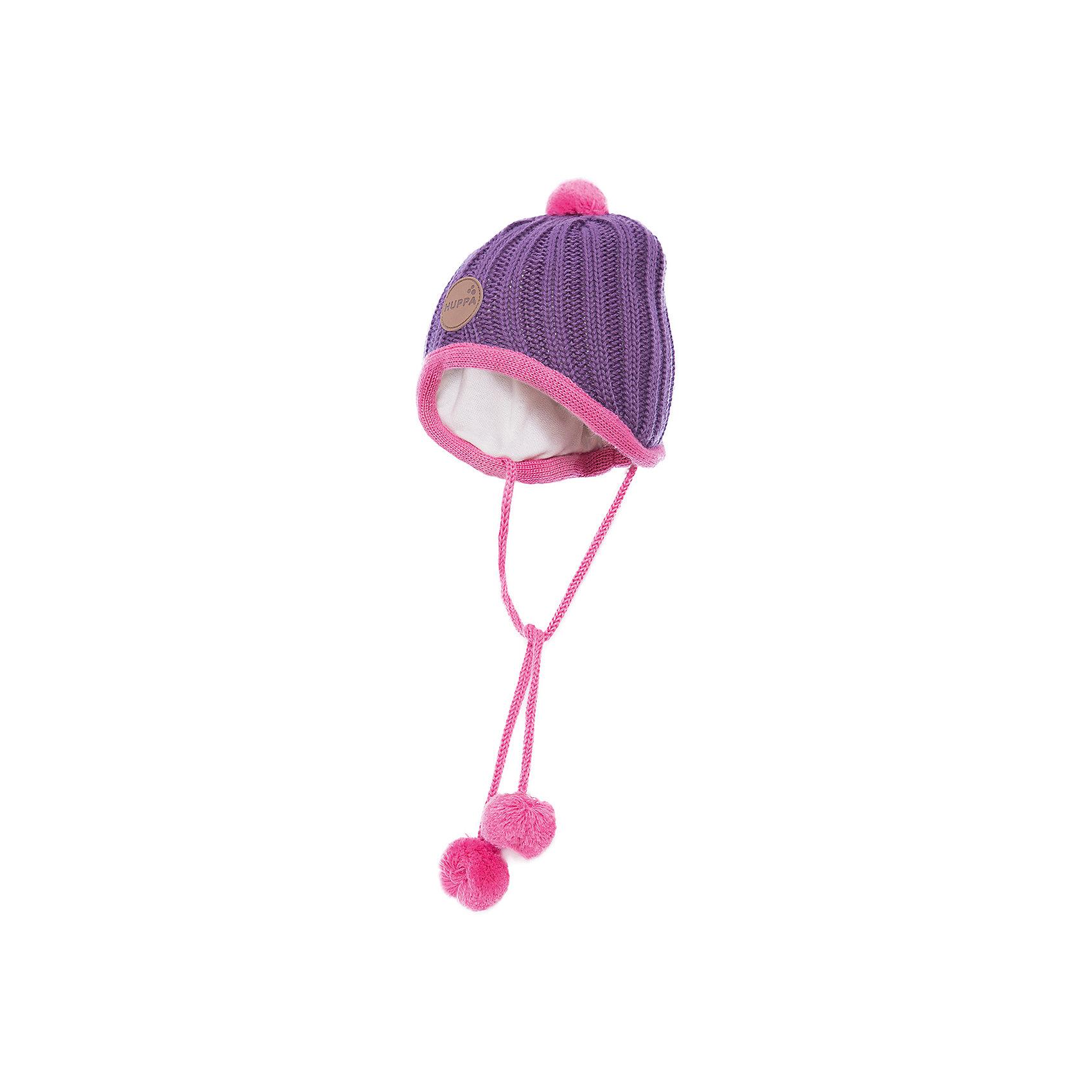 Шапка для девочки HuppaВязанная «резинкой» зимняя шапка для малышей. Для удобства ношения у шапки приятная подкладка из хлопкового трикотажа, наружная часть из смеси 50% мериносовой шерсти и 50% акриловой пряжи. Для защиты от холодных ветров у шапки имеются ленты с помпонами, при помощи которых шапку можно завязать и защитить уши от холода. <br><br>Шапку для девочки Huppa (Хуппа) можно купить в нашем магазине.<br><br>Ширина мм: 89<br>Глубина мм: 117<br>Высота мм: 44<br>Вес г: 155<br>Цвет: фиолетовый<br>Возраст от месяцев: 2<br>Возраст до месяцев: 5<br>Пол: Женский<br>Возраст: Детский<br>Размер: 39-43,51-53,43-45,47-49<br>SKU: 4242877
