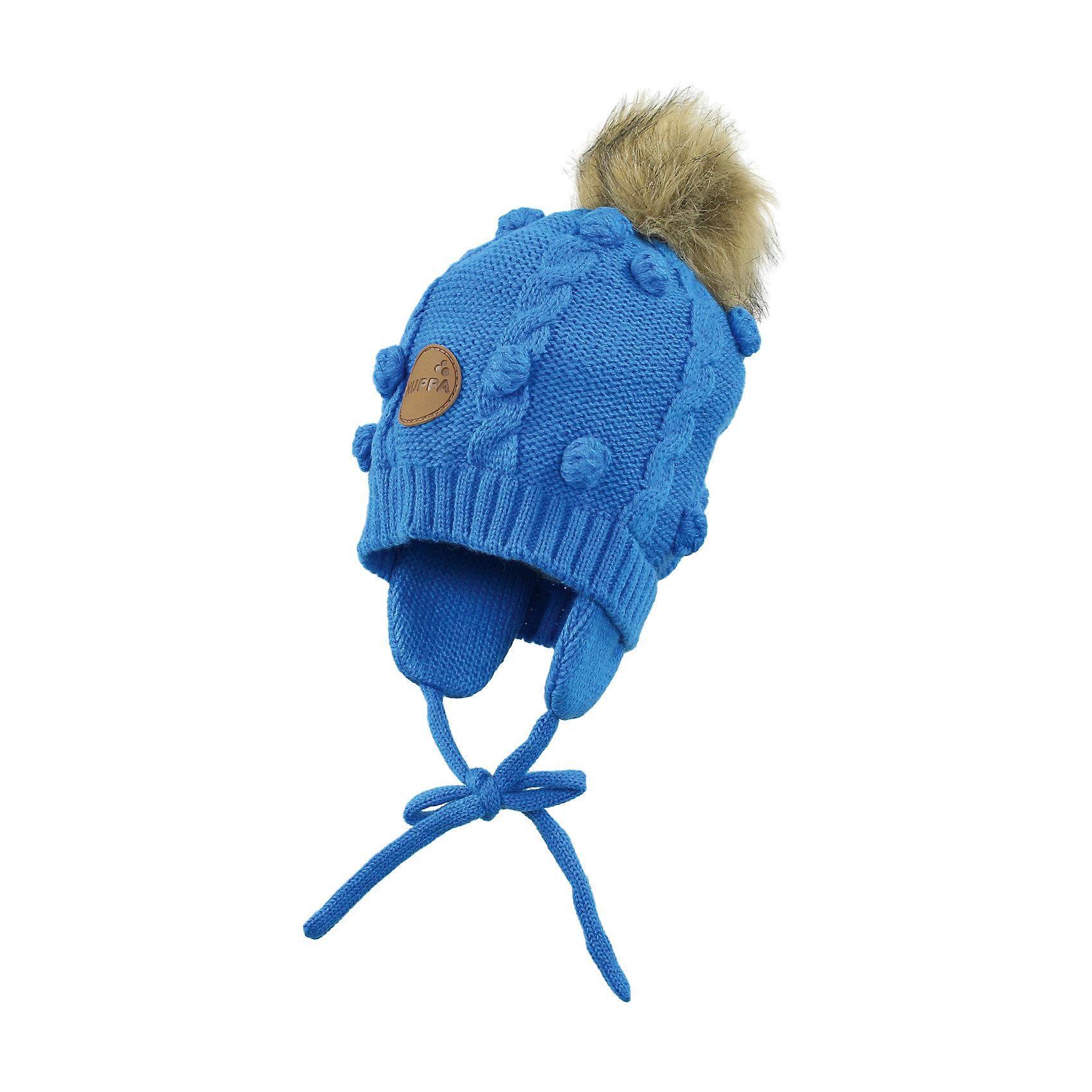 Шапка для мальчика HuppaГоловные уборы<br>Зимняя вязаная шапка с косичками для малышей. Подкладка из приятного хлопкового трикотажа и наружная часть из акриловой пряжи. Для удобства ношения у шапки есть ленты и защищающие уши от холода маленькие клапаны. В качестве украшения добавлен модный меховой помпон. <br><br>Шапку для мальчика Huppa (Хуппа) можно купить в нашем магазине.<br><br>Ширина мм: 89<br>Глубина мм: 117<br>Высота мм: 44<br>Вес г: 155<br>Цвет: голубой<br>Возраст от месяцев: 9<br>Возраст до месяцев: 12<br>Пол: Мужской<br>Возраст: Детский<br>Размер: 43-45,47-49,51-53<br>SKU: 4242900