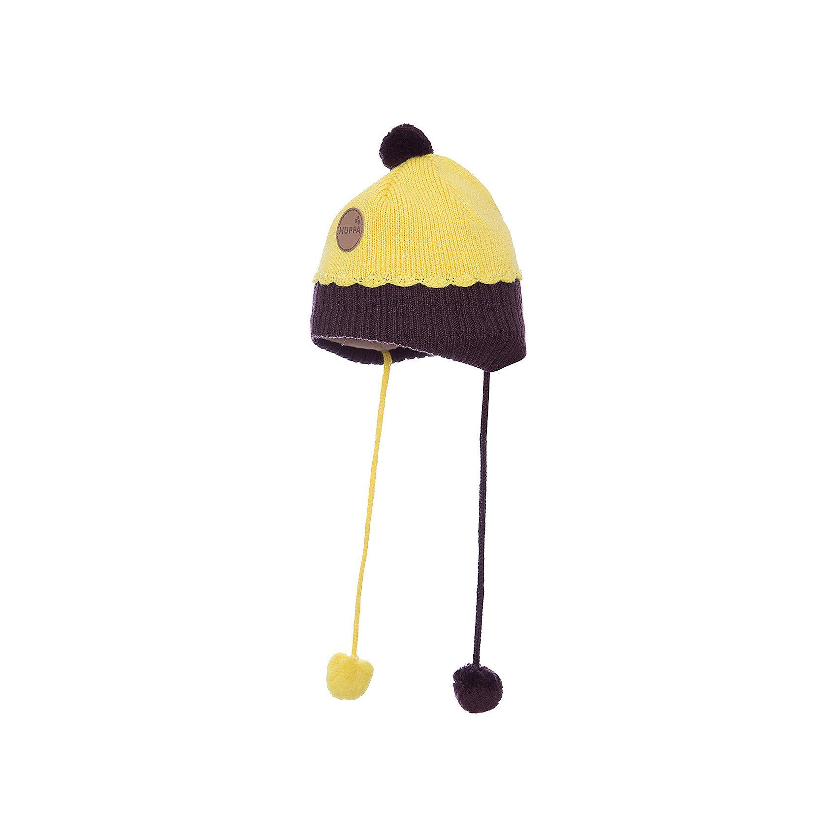 Шапка HuppaЗимняя вязаная двухцветная шапка для малышей. Для удобства ношения у шапки приятная подкладка из хлопкового трикотажа, наружная часть из смеси 50% мериносовой шерсти и 50% акриловой пряжи. Более интересной шапку делают разноцветные ленты с помпонами, при помощи которых шапку можно завязать и защитить уши от холода, а также кружева в разрезе. <br><br><br><br>Шапку Huppa (Хуппа) можно купить в нашем магазине.<br><br>Ширина мм: 89<br>Глубина мм: 117<br>Высота мм: 44<br>Вес г: 155<br>Цвет: желтый<br>Возраст от месяцев: 9<br>Возраст до месяцев: 12<br>Пол: Женский<br>Возраст: Детский<br>Размер: 43-45,47-49,51-53<br>SKU: 4242916