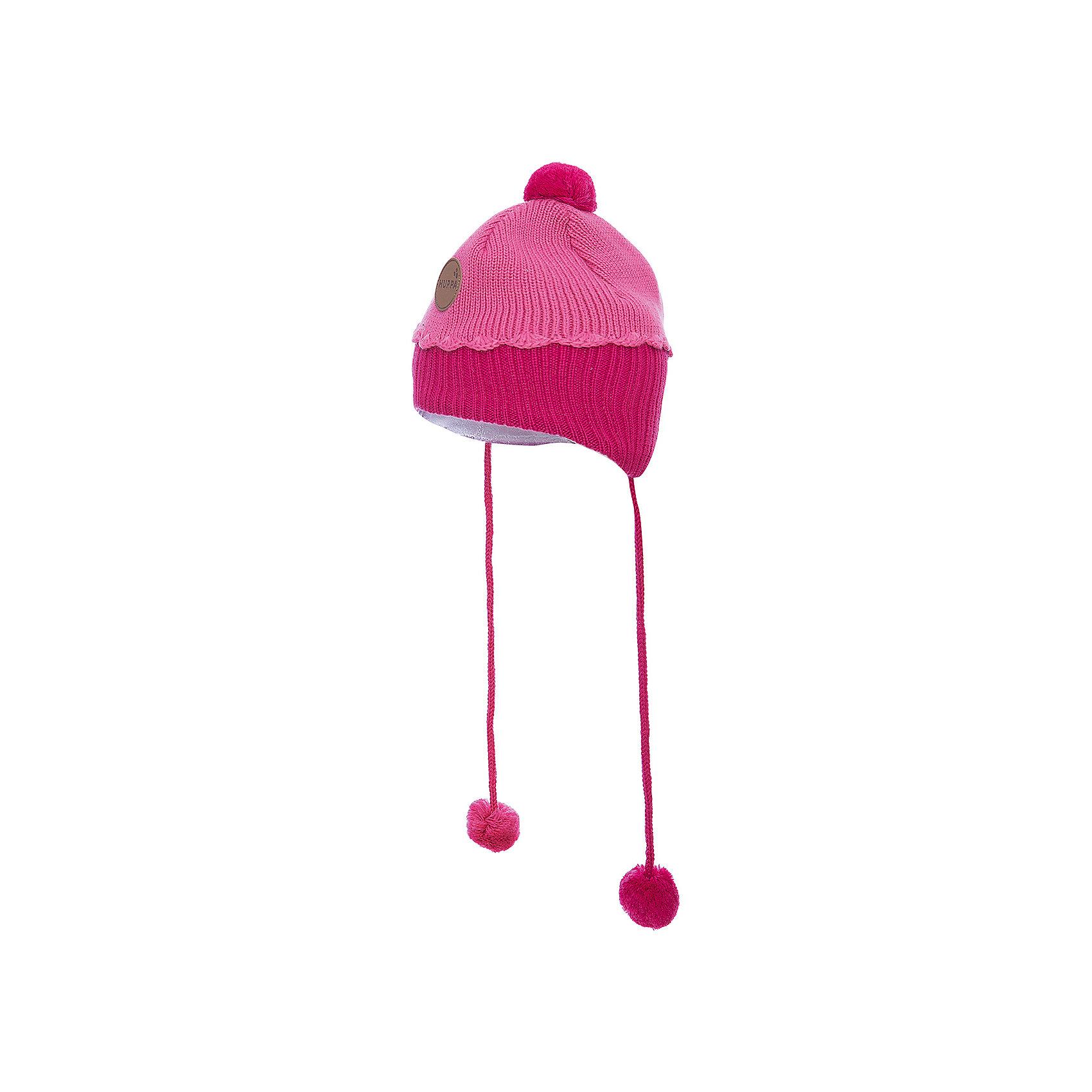 Шапка для девочки HuppaГоловные уборы<br>Зимняя вязаная двухцветная шапка для малышей. Для удобства ношения у шапки приятная подкладка из хлопкового трикотажа, наружная часть из смеси 50% мериносовой шерсти и 50% акриловой пряжи. Более интересной шапку делают разноцветные ленты с помпонами, при помощи которых шапку можно завязать и защитить уши от холода, а также кружева в разрезе. <br><br><br><br>Шапку для девочки Huppa (Хуппа) можно купить в нашем магазине.<br><br>Ширина мм: 89<br>Глубина мм: 117<br>Высота мм: 44<br>Вес г: 155<br>Цвет: розовый<br>Возраст от месяцев: 12<br>Возраст до месяцев: 24<br>Пол: Женский<br>Возраст: Детский<br>Размер: 47-49,43-45,51-53<br>SKU: 4242920