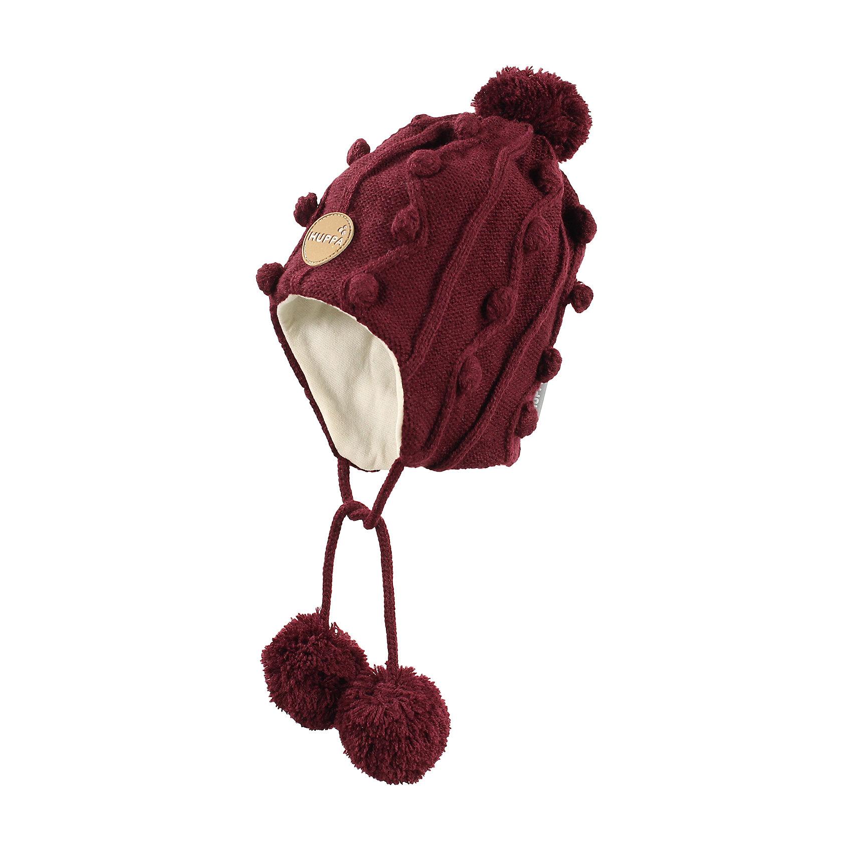 Шапка для девочки HuppaГоловные уборы<br>Симпатичная зимняя вязаная шапка для девочек. Для удобства ношения у шапки подкладка из хлопкового трикотажа и ленты с помпонами, при помощи которых шапку можно хорошо завязать и защитить уши от холода. Шапка с красивыми косичками хорошо сочетается с зимними пальто и куртками для девочек.<br><br>Шапку для девочки Huppa (Хуппа) можно купить в нашем магазине.<br><br>Ширина мм: 89<br>Глубина мм: 117<br>Высота мм: 44<br>Вес г: 155<br>Цвет: бордовый<br>Возраст от месяцев: 72<br>Возраст до месяцев: 120<br>Пол: Женский<br>Возраст: Детский<br>Размер: 55-57,51-53,47-49<br>SKU: 4242944
