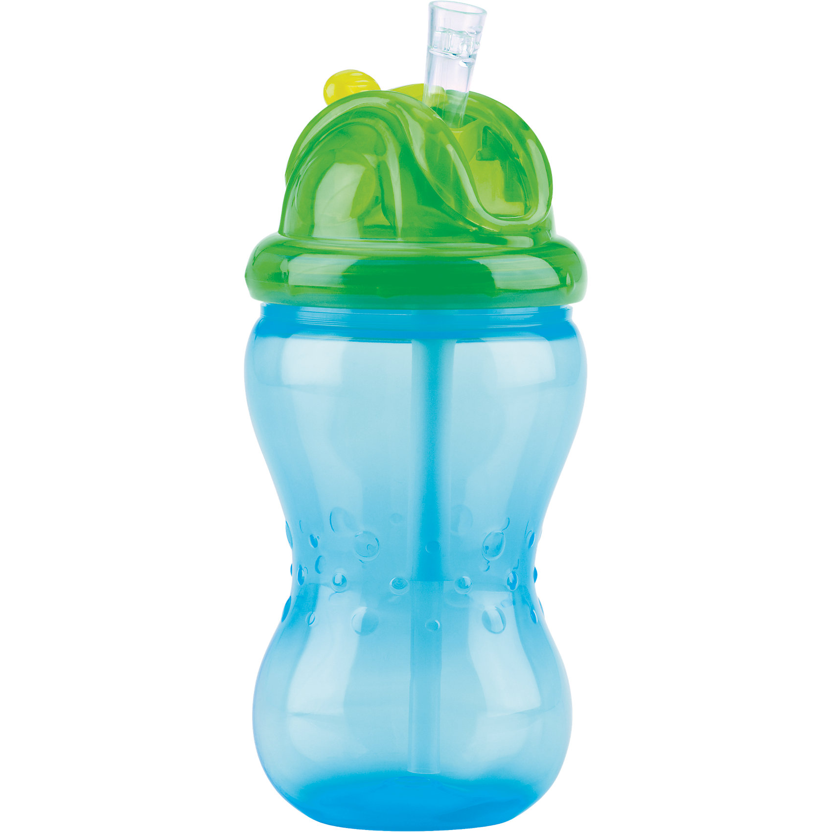 Поильник с трубочкой, Nuby, голубойПоильники<br>Новая мягкая трубочка для питья не причиняет беспокойства нежным деснам и защищает зубки ребенка. Трубочка прикрыта отщелкивающимся колпачком, удобным в использовании. Уникальная разработка защищает трубочку для питья от загрязнений в перерывах между использованиями. Подходит для путешествий и коротких поездок. Отщелкивающийся колпачок сохраняет трубочку в чистоте. Когда ребенок захочет пить, он сможет без труда открыть колпачок при помощи щелчка; при этом колпачок отбрасывается назад и не падает с крышки. Жидкость поступает в трубочку только в момент питья. Эргономичный поильник удобен в использовании как для родителей, так и для маленьких детей.<br>Внимание!!! не подходит для газированных или горячих напитков.<br>Дополнительная информация:<br>- Можно мыть в посудомоечной машине (только на верхней полке).<br>- Материал: полипропилен, силикон.<br>- Изделие изготовлено из безопасных, долговечных, нетоксичных материалов. Не содержит бисфенол А. Сертифицировано в России. Соответствует всем требованиям ГОСТ и СанПиН.<br>- Комплект поставки: поильник с трубочкой.<br>- Объем поильника: макс. 355 мл.<br><br>Ширина мм: 217<br>Глубина мм: 109<br>Высота мм: 71<br>Вес г: 87<br>Цвет: голубой<br>Возраст от месяцев: 12<br>Возраст до месяцев: 48<br>Пол: Мужской<br>Возраст: Детский<br>SKU: 4243174
