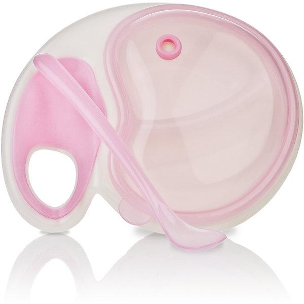 Двухсекционная тарелочка с ложкой, Nuby, розовыйДетская посуда<br>Набор глубоких тарелок Nuby  с высокими бортиками прекрасно подойдет для кормления ребенка как холодной, так и горячей пищей.<br>Дополнительная информация:<br>- В комплекте 4 тарелки разных цветов<br>- Материал: полипропилен<br>- Можно мыть в посудомоечной машине<br>- Не содержит бисфенола А.<br><br>Ширина мм: 209<br>Глубина мм: 161<br>Высота мм: 88<br>Вес г: 174<br>Цвет: розовый<br>Возраст от месяцев: 6<br>Возраст до месяцев: 36<br>Пол: Женский<br>Возраст: Детский<br>SKU: 4243187
