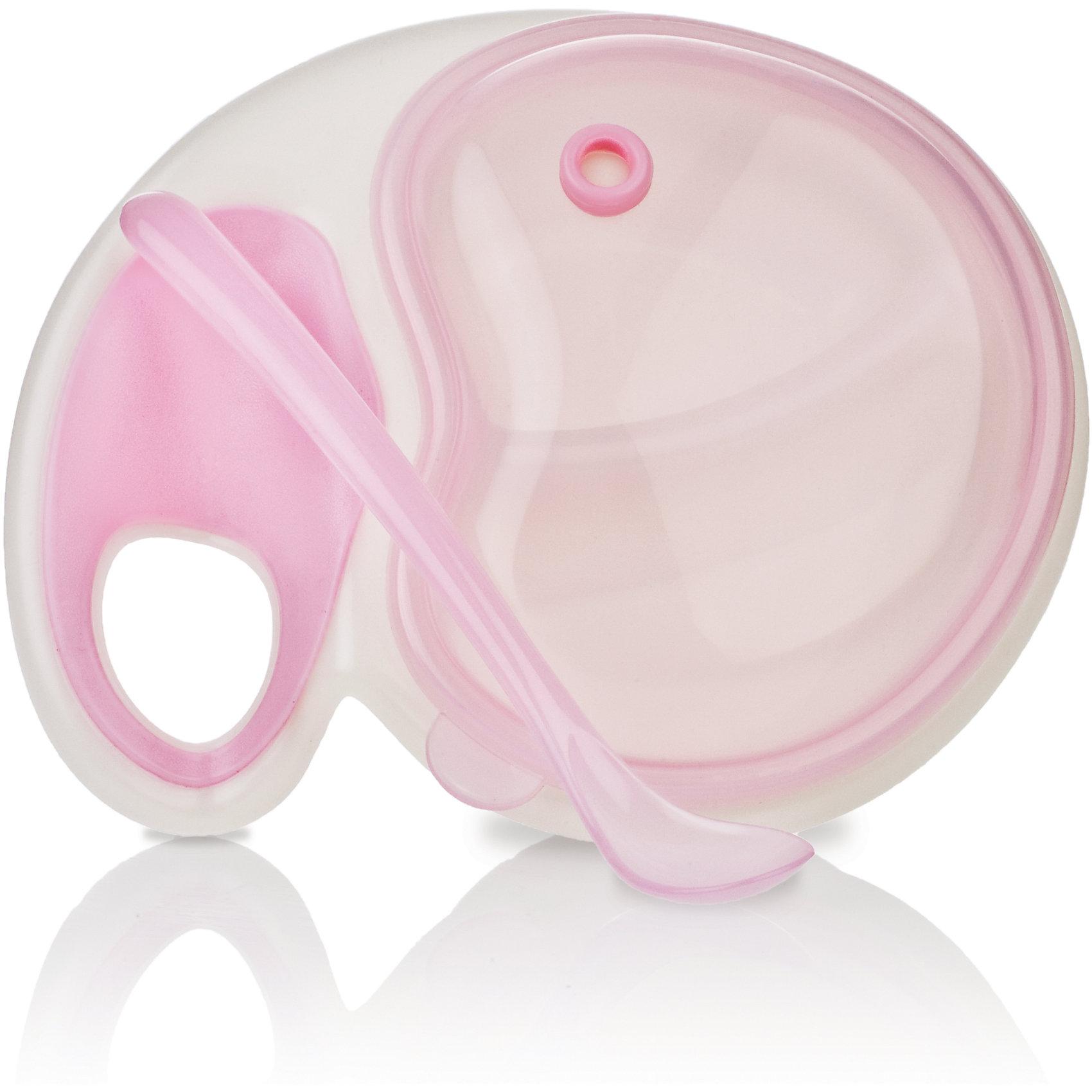 Двухсекционная тарелочка с ложкой, Nuby, розовыйНабор глубоких тарелок Nuby  с высокими бортиками прекрасно подойдет для кормления ребенка как холодной, так и горячей пищей.<br>Дополнительная информация:<br>- В комплекте 4 тарелки разных цветов<br>- Материал: полипропилен<br>- Можно мыть в посудомоечной машине<br>- Не содержит бисфенола А.<br><br>Ширина мм: 209<br>Глубина мм: 161<br>Высота мм: 88<br>Вес г: 174<br>Цвет: розовый<br>Возраст от месяцев: 6<br>Возраст до месяцев: 36<br>Пол: Женский<br>Возраст: Детский<br>SKU: 4243187
