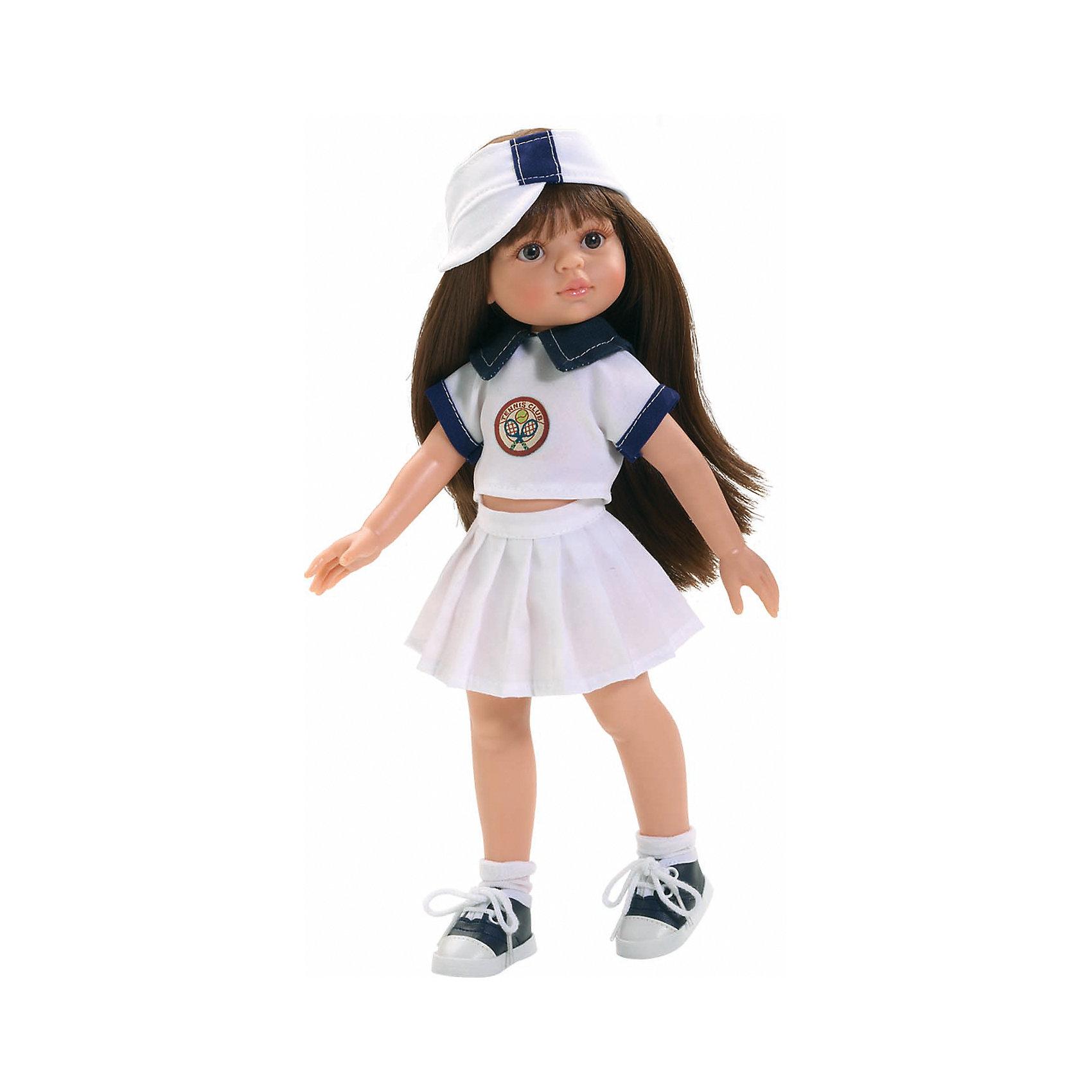 Кукла Кэрол теннисистка, 32см, Paola ReinaКукла Кэрол теннисистка, 32см, Paola Reina (Паола Рейна) – очаровательная кукла станет прекрасным подарком для вашей девочки.<br>Кукла Кэрол теннисистка, Paola Reina (Паола Рейна) – красивая кукла, которая с радостью станет верной подружкой вашей девочке. У куклы красивые большие карие глазки, невероятно длинные реснички и темные волосы, которые малышка сможет расчесывать и укладывать в самые разнообразные прически. Кэрол одета, как и полагается модным теннисисткам, в мини-юбку, футболку с синим воротничком, на голове – козырек от солнца. На ногах – белые носочки и сине-белые кеды со шнуровкой. Кукла имеет уникальный, неповторимый дизайн лица и тела - все мельчайшие делали, идеально выполнены и проработаны. Голова, руки и ножки двигаются, глаза не закрываются. Особый шарм кукле придает приятный и легкий ванильный аромат. Кукла изготовлена из качественного и экологически чистого винила. Благодаря пяти точкам артикуляции и мягкости винила, ее удобно переодевать.<br><br>Дополнительная информация:<br><br>- Ручная работа (ресницы, щечки, губы, прическа) делает кукол от Paola Reina настолько натуральными, что их лицо выглядит совсем как живое<br>- Волосы очень похожи на натуральные, они легко расчесываются и блестят<br>- Эксклюзивная одежда из высококачественного текстиля<br>- Материалы: кукла изготовлена из винила, глаза выполнены в виде кристалла из прозрачного твердого пластика, волосы сделаны из высококачественного нейлона<br>- Национальность: европейка<br>- Рост куклы: 32 см.<br>- Упаковка: картонная коробка<br>- Качество подтверждено нормами безопасности EN17 ЕЭС<br><br>Куклу Кэрол теннисистка, 32см, Paola Reina (Паола Рейна) можно купить в нашем интернет-магазине.<br><br>Ширина мм: 110<br>Глубина мм: 230<br>Высота мм: 410<br>Вес г: 667<br>Возраст от месяцев: 36<br>Возраст до месяцев: 144<br>Пол: Женский<br>Возраст: Детский<br>SKU: 4243812