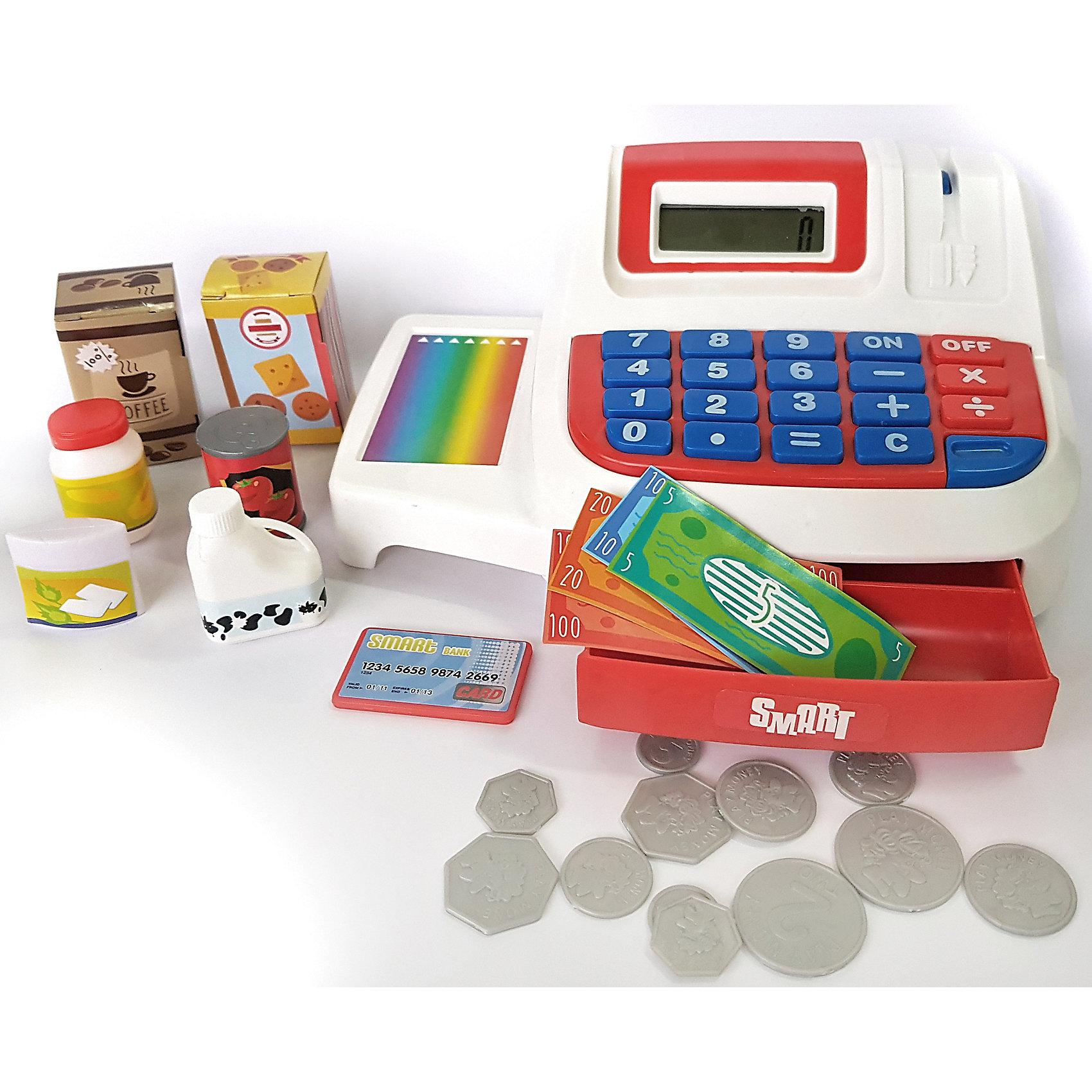 Кассовый аппарат Smart, HTIДетский супермаркет<br>Кассовый аппарат Smart, HTI – эта игрушка станет прекрасным подарком для вашего ребенка.<br>Кассовый аппарат Smart считает, как настоящий и данные отображаются на дисплее. Он оснащен конвейерной лентой для передвижения продуктов, встроенным терминалом для работы с банковскими картами, дисплеем и отсеком для хранения денег, открывающимся при помощи специальной кнопки. И все это работает с реальными звуками. Кассовый аппарат можно использовать как обычный калькулятор. Набор прекрасно подойдет для различных сюжетно-ролевых игр в магазин, а также Ваш ребенок сможет научиться правильно вести себя в магазине и делать покупки.<br><br>Дополнительная информация:<br><br>- В наборе: кассовый аппарат; игрушечные деньги (монетки, купюры); банковская карта, муляжи товаров (молоко, майонез, кофе, томаты, печенье)<br>- Батарейки: 2 x AA / LR6 1.5V (пальчиковые) (в комплекте демонстрационные)<br>- Материал: пластик<br>- Размер упаковки: 12х29х17 см.<br>- Вес: 558 гр.<br><br>Кассовый аппарат Smart, HTI можно купить в нашем интернет-магазине.<br><br>Ширина мм: 120<br>Глубина мм: 290<br>Высота мм: 170<br>Вес г: 558<br>Возраст от месяцев: 36<br>Возраст до месяцев: 144<br>Пол: Унисекс<br>Возраст: Детский<br>SKU: 4243851