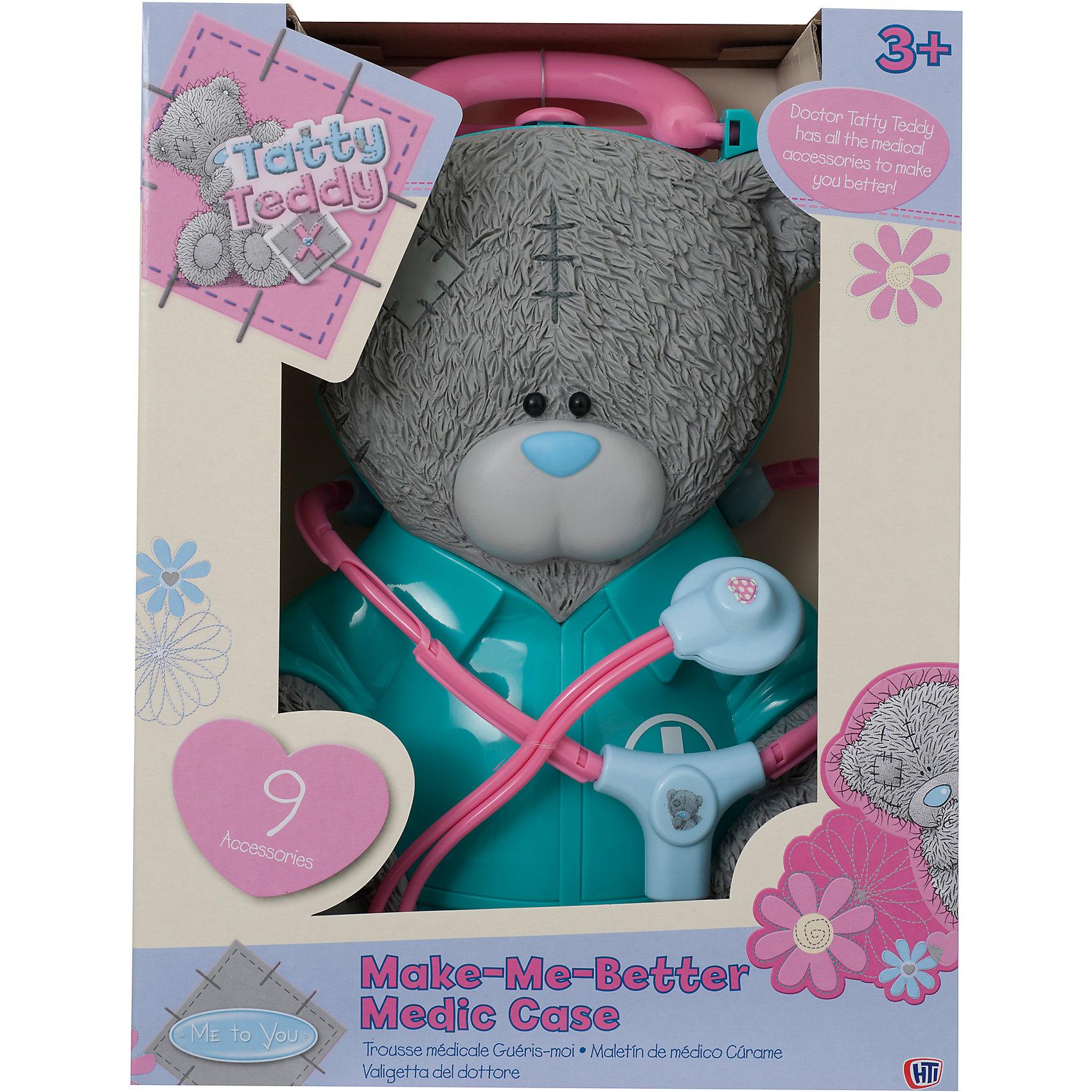 Набор доктора Me to you, HTIСюжетно-ролевые игры<br>Набор доктора Me to you, HTI – это чемоданчик в виде плюшевого мишки, в котором есть всё для оказания медицинской помощи.<br>Набор доктора Me to you, HTI покорит вашу дочку с первого взгляда! Этот набор позволит вашему ребенку вылечить все свои игрушки. В нем есть 9 игрушечных медицинских принадлежностей, которые хранятся в чемоданчике в виде мишки Тедди. Чемоданчик закрывается на защелку и оснащен ручкой для переноски. Набор изготовлен из яркого нетоксичного пластика.<br><br>Дополнительная информация:<br><br>- В наборе: стетоскоп, баночка для лекарств, молоточек, шприц, ножницы, пинцет, градусник, пластырь, инструмент стоматолога<br>- Материал: пластик, плюш<br>- Размер упаковки: 34 x 26 x 12,5 см.<br>- Вес: 700 гр.<br><br>Набор доктора Me to you, HTI можно купить в нашем интернет-магазине.<br><br>Ширина мм: 340<br>Глубина мм: 260<br>Высота мм: 125<br>Вес г: 700<br>Возраст от месяцев: 36<br>Возраст до месяцев: 144<br>Пол: Женский<br>Возраст: Детский<br>SKU: 4243854