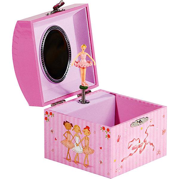 Музыкальная шкатулка, JakosДетские предметы интерьера<br>Музыкальная шкатулка, Jakos (Джакос) – это изящно оформленная шкатулка с кружащейся в танце балериной.<br>Музыкальная шкатулка для украшений Jakos (Джакос) из ламинированного картона в форме сундучка станет прекрасным подарком для девочки. Внутри шкатулки находятся одно отделение для хранения разнообразных украшений, небольшое зеркальце, а также фигурка балерины, которая начинает кружиться под приятную музыку, если завести механизм. Приятная мелодия музыкальной шкатулки успокоит и подарит романтическое настроение. Поверхность внутри покрыта нежным бархатистым материалом.<br><br>Дополнительная информация:<br><br>- Материал: картон, пластик<br>- С заводным механизмом<br>- Размер: 10,5 x 10,5 x 10,2 см.<br>- Вес: 250 гр.<br><br>Музыкальную шкатулку, Jakos (Джакос) можно купить в нашем интернет-магазине.<br>Ширина мм: 115; Глубина мм: 105; Высота мм: 105; Вес г: 250; Возраст от месяцев: 36; Возраст до месяцев: 168; Пол: Женский; Возраст: Детский; SKU: 4243859;