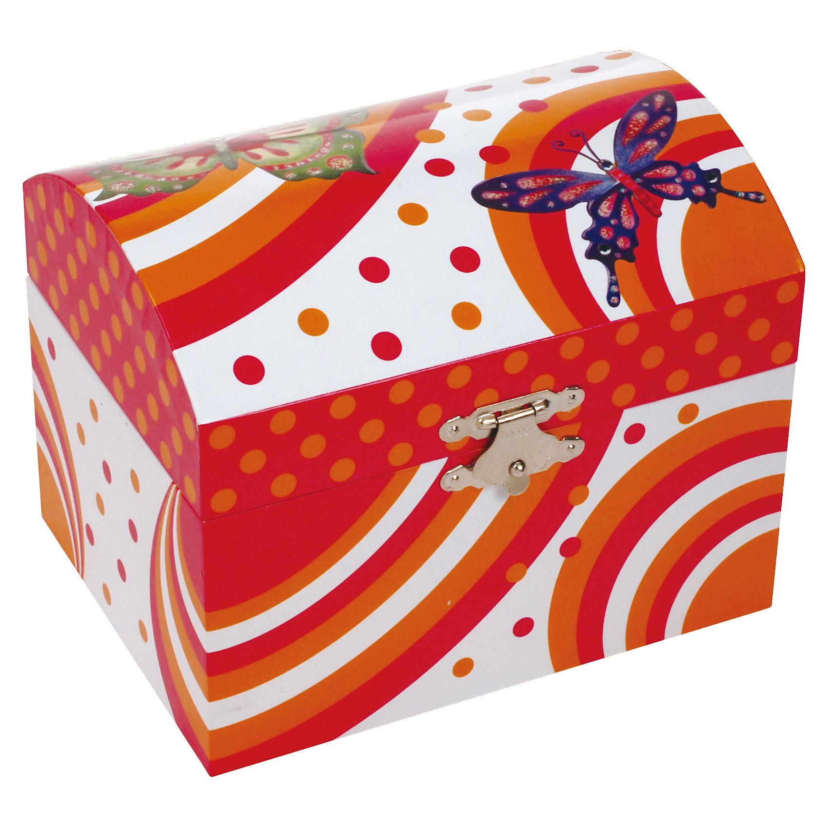 Музыкальная шкатулка, JakosМузыкальная шкатулка, Jakos (Джакос) – эта изящная шкатулка представляет собой сочетание красоты, оригинального дизайна и функциональности.<br>Музыкальная шкатулка для украшений Jakos (Джакос) из картона в форме сундучка станет прекрасным подарком для девочки. Внутри шкатулки находятся одно отделение для хранения разнообразных украшений, небольшое зеркальце, а также фигурка бабочки, которая начинает кружиться под приятную музыку, если завести механизм. Приятная мелодия музыкальной шкатулки успокоит и подарит романтическое настроение.<br><br>Дополнительная информация:<br><br>- Материал: картон, пластик<br>- С заводным механизмом<br>- Размер упаковки: 11 x 14 x 11,3 см.<br>- Вес: 298 гр.<br><br>Музыкальную шкатулку, Jakos (Джакос) можно купить в нашем интернет-магазине.<br><br>Ширина мм: 110<br>Глубина мм: 140<br>Высота мм: 113<br>Вес г: 298<br>Возраст от месяцев: 36<br>Возраст до месяцев: 168<br>Пол: Женский<br>Возраст: Детский<br>SKU: 4243860