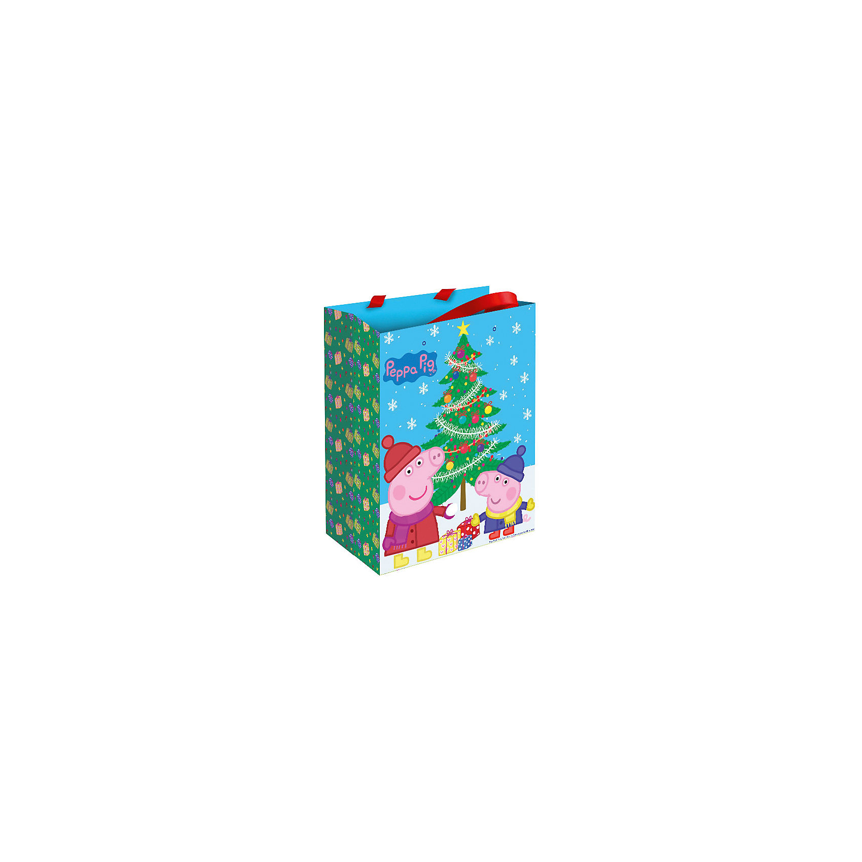 Росмэн Пакет подарочный Пеппа зимой 23*18*10 см, Свинка Пеппа цветная бумага 10 листов 10 цветов двухсторонняя свинка пеппа свинка пеппа