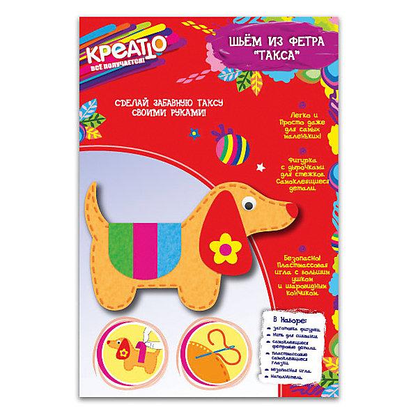 Шьем игрушку из фетра ТаксаШитьё<br>Шьем игрушку из фетра Такса - увлекательный набор для творчества, который позволит Вашему ребенку создать своими руками оригинальную мягкую игрушку. Техника изготовления не представляет большой сложности и прекрасно подходит для первых уроков шитья. В комплекте Вы найдете выкройку фигурки с дырочками для стежков, нить для сшивания, безопасную пластиковую иглу и детали для украшения. Сшиваем фигурку по дырочкам для стежков, оставив место для набивки. Затем набиваем игрушку наполнителем, зашиваем и затягиваем узелок.<br>Приклеиваем к готовой фигурке глазки, ушки, носик и попонку. Результатом творчества станет симпатичная милая собачка, которая обязательно порадует Вашего ребенка. Набор способствует развитию усидчивости, мелкой моторики и творческого мышления.<br><br>Дополнительная информация:<br><br>- В комплекте: выкройка фигурки, нить для сшивания, самоклеящиеся фетровые детали, пластиковая игла с большим ушком и шаровидным кончиком, наполнитель, кольцо для подвешивания. <br>- Материал: фетр, пластик.<br>- Размер готовой игрушки: 12,5 см.<br>- Размер упаковки: 25 х 17 х 1 см. <br>- Вес: 37 гр.<br><br>Набор Шьем игрушку из фетра Такса, Росмэн, можно купить в нашем интернет-магазине.<br><br>Ширина мм: 250<br>Глубина мм: 170<br>Высота мм: 10<br>Вес г: 37<br>Возраст от месяцев: 36<br>Возраст до месяцев: 84<br>Пол: Унисекс<br>Возраст: Детский<br>SKU: 4244195