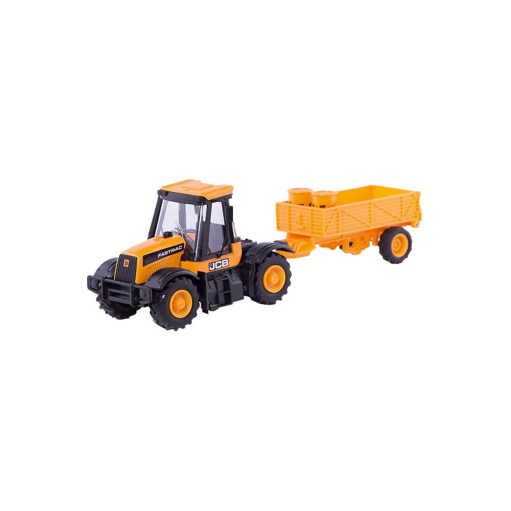 Трактор 1:32, JCBМашинки<br>Трактор, JCB - это уменьшенная модель настоящей строительной техники от компании JCB, выполненная в высоком качестве и с большим вниманием к деталям. В этой модели есть все основные функции, которыми обладает реальная машина. Трактор оснащен просторной застекленной кабиной с сиденьем водителя. Дополнительные детали, такие как лесенка в кабину, дворники на стекле, зеркало заднего вида, придают машине особую реалистичность. Съемный прицеп сзади можно заполнять песком или мелкими предметам, что делает игрушку особенно интересной для игр на улице. Мощные прорезиненные колеса обеспечивают прочное сцепление с поверхностью и уберегает напольное покрытие от царапин. Трактор изготовлен из высококачественной прочной пластмассы, ребенок сможет ещё дольше играть с ним, не боясь поломок.<br><br>Дополнительная информация:<br><br>- Материал: высококачественный пластик.<br>- Масштаб 1:32.<br>- Размер игрушки: 27 х 10 х 8 см.<br>- Вес: 0,398 кг.<br><br>Трактор, JCB, можно купить в нашем интернет-магазине.<br><br>Ширина мм: 270<br>Глубина мм: 100<br>Высота мм: 80<br>Вес г: 398<br>Возраст от месяцев: 36<br>Возраст до месяцев: 96<br>Пол: Мужской<br>Возраст: Детский<br>SKU: 4244447