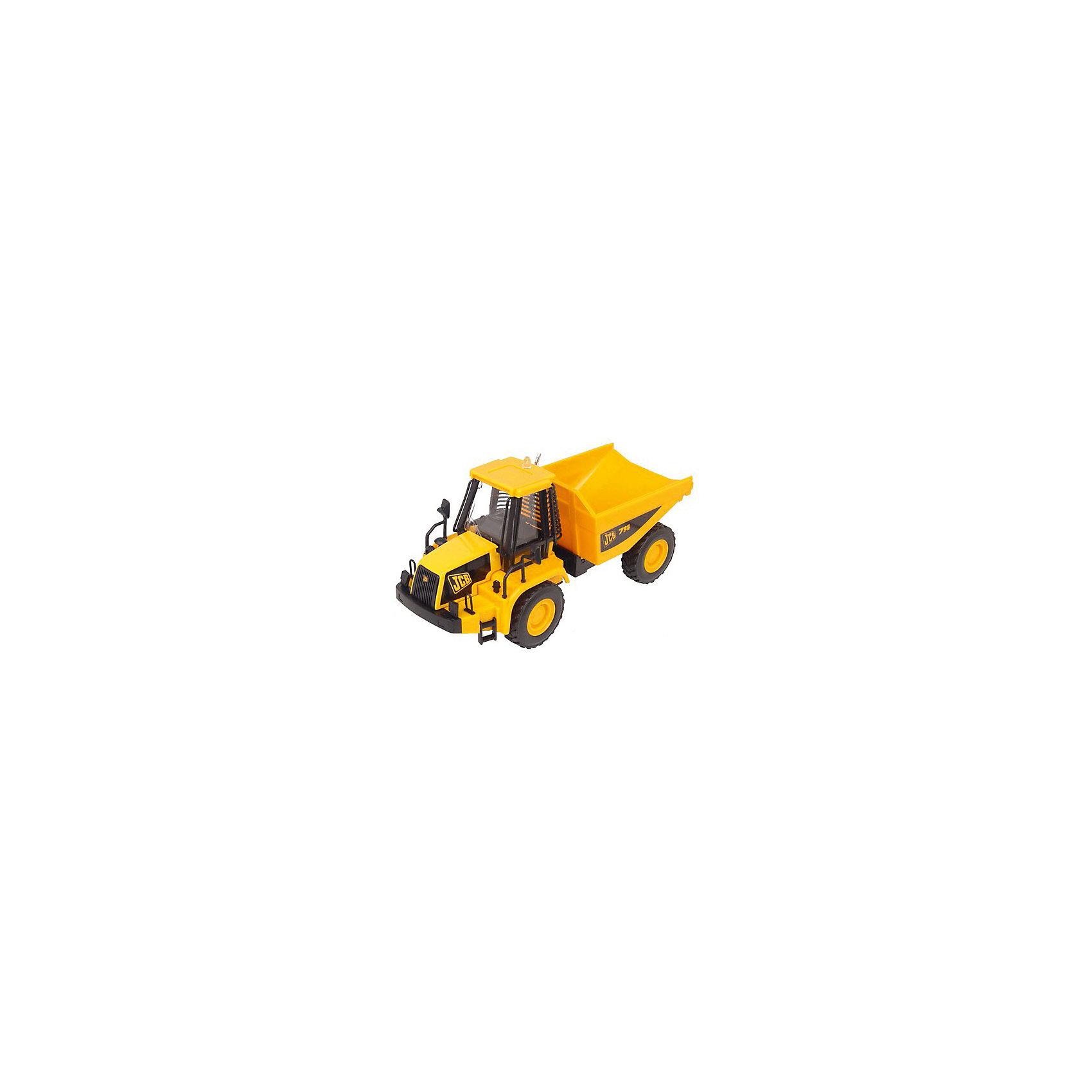Самосвал 1:32, JCBМашинки<br>Самосвал, JCB - это уменьшенная модель настоящей строительной техники от компании JCB, выполненная в высоком качестве и с большим вниманием к деталям. В этой модели есть все основные функции, которыми обладает реальная машина. Самосвал оснащен просторной застекленной кабиной с сиденьем водителя. Вместительный кузов поднимается и опускается, что делает игрушку особенно интересной для игр на улице. Кузов можно заполнять песком или мелкими предметами, а затем разгружать, как при настоящих строительных работах. У машины мощные прорезиненные колеса, что обеспечивает прочное сцепление с поверхностью и уберегает напольное покрытие от царапин. Игрушка изготовлена из высококачественной прочной пластмассы, можно ещё дольше играть с ней, не боясь поломок. Ваш ребенок в увлекательной форме познакомится с особенностями работы дорожно-строительной техники и откроет для себя множество новых профессий.<br><br>Дополнительная информация:<br><br>- Материал: высококачественный пластик.<br>- Масштаб 1:32.<br>- Размер игрушки: 27 х 10 х 8 см.<br>- Вес: 0,398 кг.<br><br>Самосвал, JCB, можно купить в нашем интернет-магазине.<br><br>Ширина мм: 270<br>Глубина мм: 100<br>Высота мм: 80<br>Вес г: 398<br>Возраст от месяцев: 36<br>Возраст до месяцев: 96<br>Пол: Мужской<br>Возраст: Детский<br>SKU: 4244448