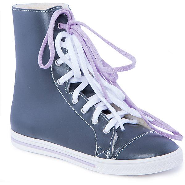Ботинки для девочки КотофейБотинки<br>Ботинки для девочки от известного российского бренда Котофей - стильная модель выполненная в лаконичном дизайне, которая обязательно придется по вкусу всем юным модницам. Модель завязывается на шнурки, имеет мягкую шерстяную подкладку, прекрасно сохраняющую тепло, декорирована тонкой сиреневой полосой на подошве. В комплект входят дополнительные сиреневые шнурки. <br><br>Дополнительная информация:<br><br>- Тип застежки: шнурки, <br>- Дополнительные шнурки в комплекте.<br>- Декоративные элементы:  полоса на подошве<br>Параметры для размера 32 <br>- Толщина подошвы: 1,7 см.<br>- Высота каблука: 1,6 см.<br>- Длина стопы: 20,5<br>Состав: <br>натуральная кожа, ТЭП, шерстяной мех.<br><br>Ботинки для девочки Котофей можно купить в нашем магазине.<br>Ширина мм: 262; Глубина мм: 176; Высота мм: 97; Вес г: 427; Цвет: серый; Возраст от месяцев: 144; Возраст до месяцев: 156; Пол: Женский; Возраст: Детский; Размер: 36,33,32,34,37,37.5,35; SKU: 4248544;