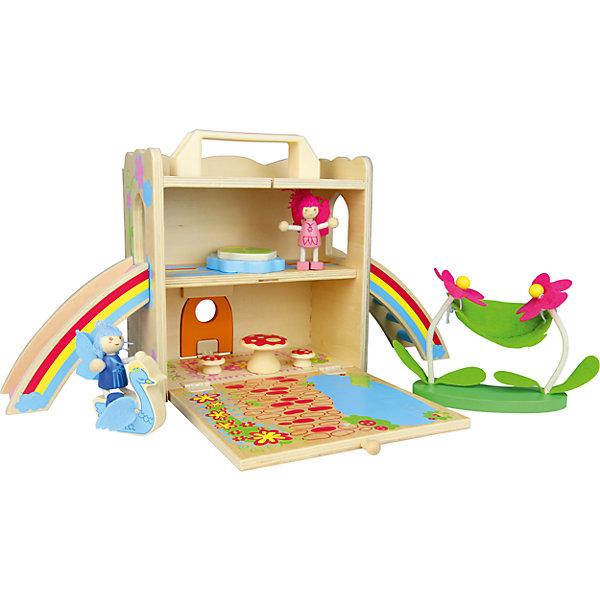 Игровой набор  Домик феи, ZenitДомики для кукол<br>Набор Домик феи, Zenit, со множеством игровых возможностей обязательно понравится Вашей девочке. Компания Zenit Wooden Toys - всемирно известный производитель высококачественных товаров из дерева. Все детские товары этой марки отвечают самым высоким стандартам качества и безопасности. Набор выполнен в виде компактного деревянного сундучка с ручкой, который раскладываясь, превращается в чудесный сказочный домик с цветочной полянкой и прудом. На первом этаже домика размещается просторная гостиная, на втором - уютная спальня, из которой можно попасть на улицу, скатившись по горке-радуге. В комплект также входят две фигурка фей и различные аксессуары, которые сделают игру еще интереснее: фантастическая мебель в виде грибов, фигурка лебедя, лужайка с двумя цветочками и подвешенным<br>между ними гамаком.<br><br>Дополнительная информация:<br><br>- В комплекте: домик, две фигурки, мебель, аксессуары.<br>- Материал: древесина, ДСП, текстиль.<br>- Размер упаковки: 23 х 21 х 11,5 см. <br>- Вес: 2 кг. <br><br>Игровой набор Домик феи, Zenit, можно купить в нашем интернет-магазине.<br><br>Ширина мм: 230<br>Глубина мм: 210<br>Высота мм: 115<br>Вес г: 2000<br>Возраст от месяцев: 36<br>Возраст до месяцев: 96<br>Пол: Женский<br>Возраст: Детский<br>SKU: 4248705