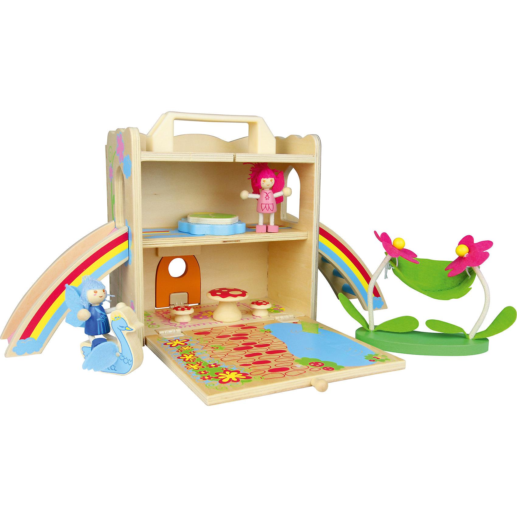 Игровой набор  Домик феи, ZenitДеревянные куклы, домики и мебель<br>Набор Домик феи, Zenit, со множеством игровых возможностей обязательно понравится Вашей девочке. Компания Zenit Wooden Toys - всемирно известный производитель высококачественных товаров из дерева. Все детские товары этой марки отвечают самым высоким стандартам качества и безопасности. Набор выполнен в виде компактного деревянного сундучка с ручкой, который раскладываясь, превращается в чудесный сказочный домик с цветочной полянкой и прудом. На первом этаже домика размещается просторная гостиная, на втором - уютная спальня, из которой можно попасть на улицу, скатившись по горке-радуге. В комплект также входят две фигурка фей и различные аксессуары, которые сделают игру еще интереснее: фантастическая мебель в виде грибов, фигурка лебедя, лужайка с двумя цветочками и подвешенным<br>между ними гамаком.<br><br>Дополнительная информация:<br><br>- В комплекте: домик, две фигурки, мебель, аксессуары.<br>- Материал: древесина, ДСП, текстиль.<br>- Размер упаковки: 23 х 21 х 11,5 см. <br>- Вес: 2 кг. <br><br>Игровой набор Домик феи, Zenit, можно купить в нашем интернет-магазине.<br><br>Ширина мм: 230<br>Глубина мм: 210<br>Высота мм: 115<br>Вес г: 2000<br>Возраст от месяцев: 36<br>Возраст до месяцев: 96<br>Пол: Женский<br>Возраст: Детский<br>SKU: 4248705
