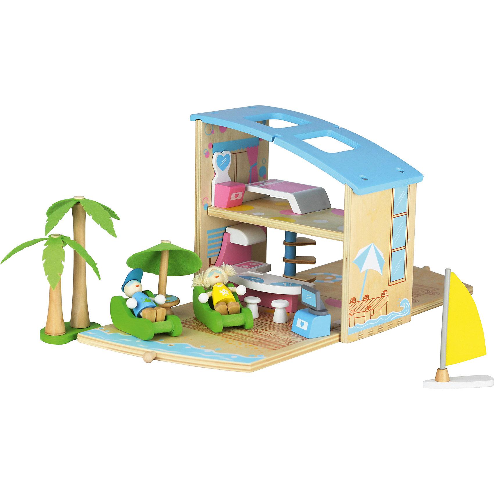 Игровой набор Пляжный домик, ZenitНабор Пляжный домик, Zenit, со множеством игровых возможностей обязательно понравится Вашей девочке. Компания Zenit Wooden Toys - всемирно известный производитель высококачественных товаров из дерева. Все детские товары этой марки отвечают самым высоким стандартам качества и безопасности. Набор выполнен в виде компактного деревянного сундучка с ручкой, который раскладываясь, превращается в чудесный пляжный домик с песочным пляжем и берегом моря. На первом этаже домика размещается просторная гостиная, на втором - уютная спальня, в комнатках можно расставить входящую в комплект мебель. Обитающие в домике человечки прекрасно проводят время, загорая на пляже в удобных шезлонгах. От яркого солнца их защитит большой пляжный зонтик со столиком, лежа под которым хорошо любоваться на морской берег с пальмами и проплывающей яхтой.<br><br>Дополнительная информация:<br><br>- В комплекте: домик, две фигурки, аксессуары (мебель, пальма, яхта).<br>- Материал: древесина, ДСП, текстиль.<br>- Размер упаковки: 23 х 21 х 11,5 см. <br>- Вес: 2 кг. <br><br>Игровой набор Пляжный домик, Zenit, можно купить в нашем интернет-магазине.<br><br>Ширина мм: 230<br>Глубина мм: 210<br>Высота мм: 115<br>Вес г: 2000<br>Возраст от месяцев: 36<br>Возраст до месяцев: 96<br>Пол: Унисекс<br>Возраст: Детский<br>SKU: 4248706