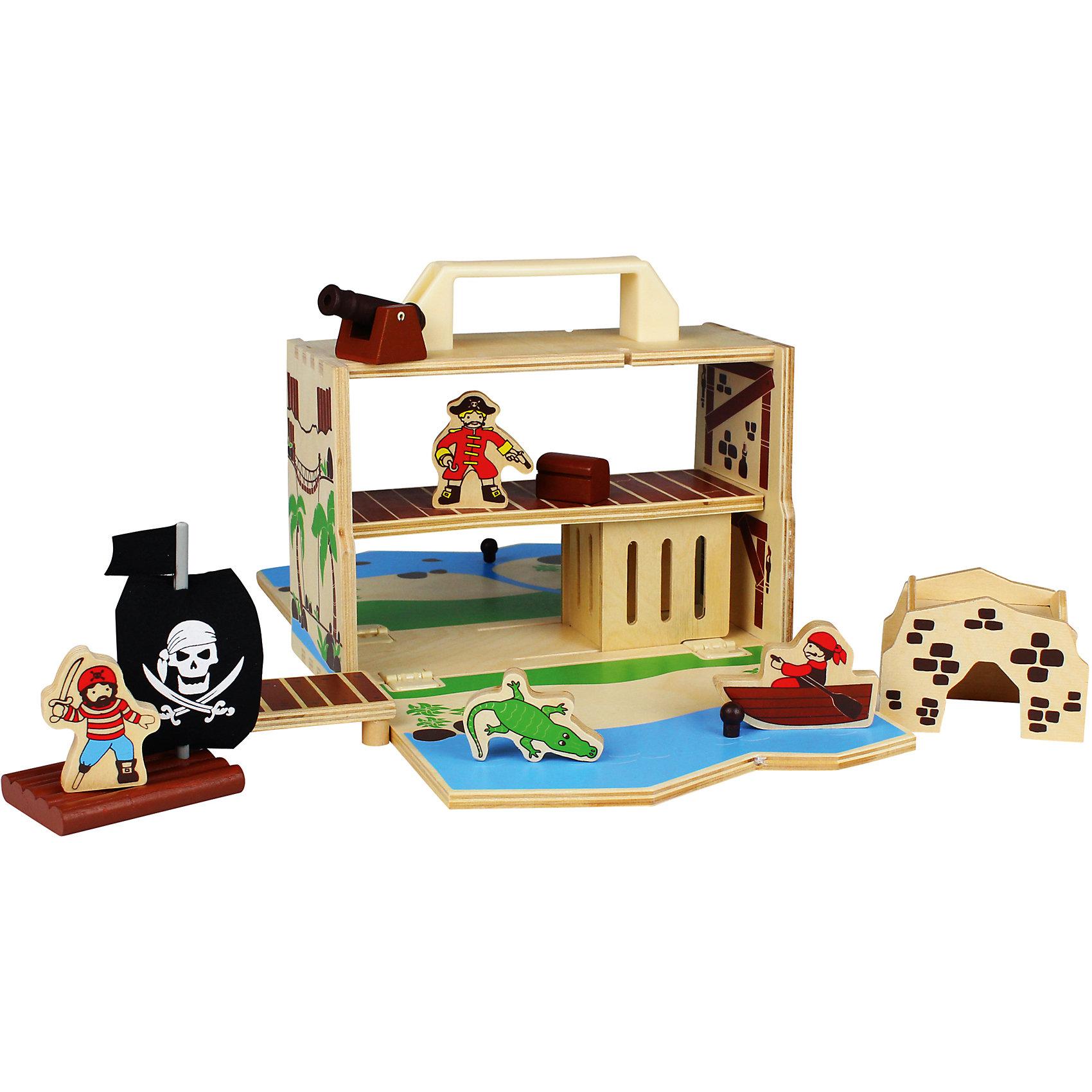 Пиратский остров, ZenitПиратский корабль, Zenit, со множеством игровых возможностей обязательно понравится Вашему ребенку. Компания Zenit Wooden Toys - всемирно известный производитель высококачественных товаров из дерева. Все детские товары этой марки отвечают самым высоким стандартам качества и безопасности. В комплекте Вы найдете детали для сборки настоящего пиратского корабля и различные аксессуары к нему. Красочный деревянный корабль оснащен пушками, штурвалом и мачтой с черным парусом. Люк на палубе ведет в секретное помещение где капитан-пират хранит свои сокровища. Игрушка развивает фантазию и воображение, тренирует мелкую моторику.<br><br>Дополнительная информация:<br><br>- В комплекте: детали для сборки корабля, две фигурки пиратов, аксессуары.<br>- Материал: древесина, ДСП.<br>- Размер упаковки: 26 х 20 х 14 см. <br>- Вес: 2 кг. <br><br>Пиратский корабль, Zenit, можно купить в нашем интернет-магазине.<br><br>Ширина мм: 260<br>Глубина мм: 200<br>Высота мм: 140<br>Вес г: 2000<br>Возраст от месяцев: 36<br>Возраст до месяцев: 96<br>Пол: Унисекс<br>Возраст: Детский<br>SKU: 4248713