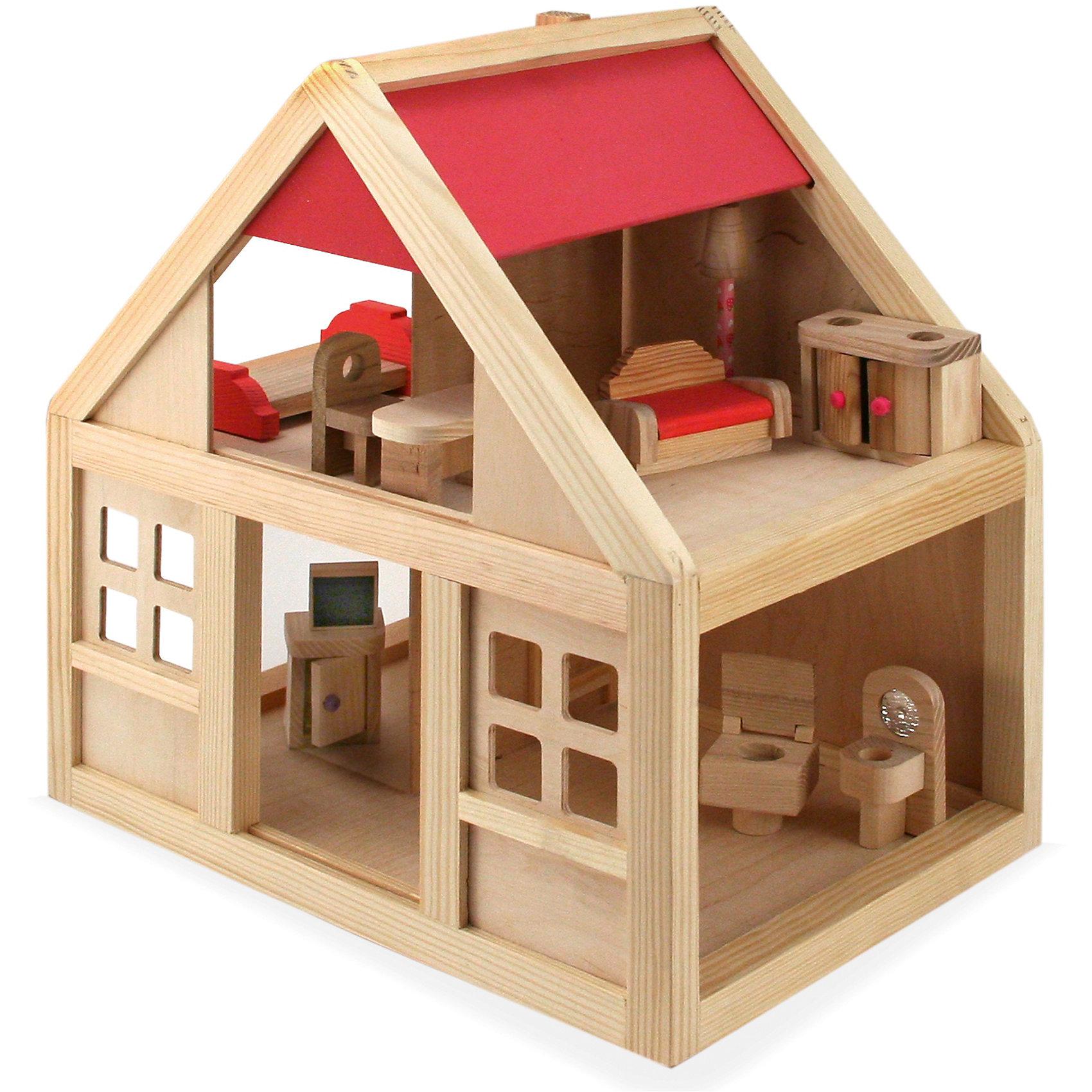 Деревянный домик с набором мебелиЧудесный Деревянный домик со множеством игровых возможностей обязательно понравится Вашей девочке. Игрушка представляет из себя миниатюрную копию настоящего деревенского домика. У него натуральная расцветка, имитирующая дерево, окрашена только крыша. В домике два этажа, доступ на каждый этаж находится сбоку. Имеются окошки, на втором этаже перегородка с часами, на крыше труба. В комплект также входит различная мебель, которой можно обставить комнатки в доме: диван, кровать, тумбочка, телевизор, торшер, раковина, унитаз, комод, стол и стул. Набор отлично подходит для сюжетно-ролевых игр, развивает фантазию, воображение и коммуникативные навыки. <br>Ещё одно преимущество данного набора состоит в том, что домик и аксессуары можно раскрасить расками, используя те цвета, которые предпочитает Ваш ребёнок! А играть в собстенно раскрашенный домик намного интереснее!<br><br>Дополнительная информация:<br><br>- В комплекте: домик, мебель (диван, кровать, тумбочка, телевизор, торшер, раковина, унитаз, комод, стол, стул).<br>- Материал: дерево.<br>- Размер упаковки: 35 х 35 х 23 см. <br>- Вес: 3 кг. <br><br>Деревянный домик с набором мебели можно купить в нашем интернет-магазине.<br><br>Ширина мм: 350<br>Глубина мм: 350<br>Высота мм: 250<br>Вес г: 3000<br>Возраст от месяцев: 36<br>Возраст до месяцев: 96<br>Пол: Женский<br>Возраст: Детский<br>SKU: 4248716