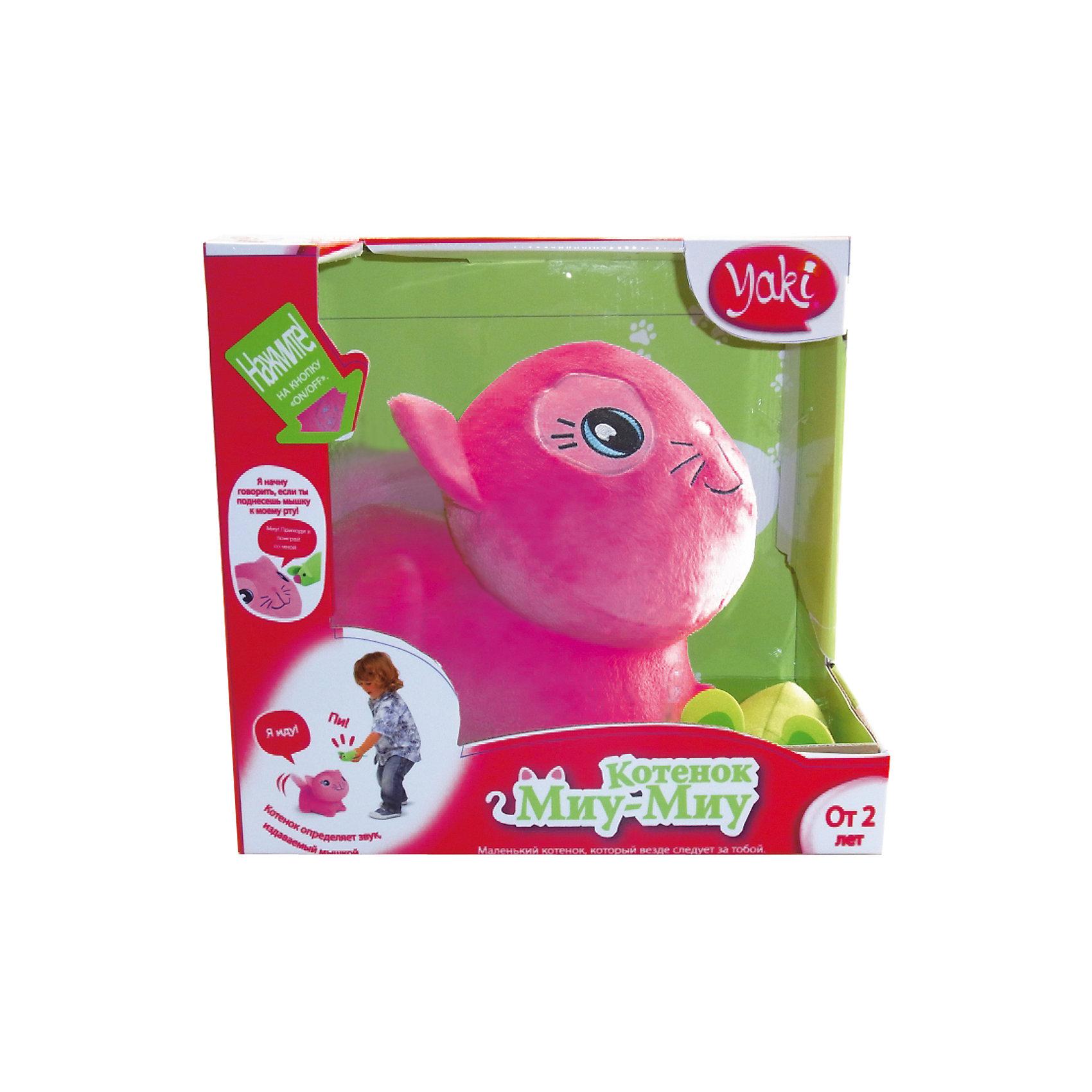 Котенок Миу-Миу, со светом и звуком, YAKIКотенок Миу-Миу, Yaki - очаровательная развивающая игрушка, которая обязательно привлечет внимание Вашего малыша. Милый розовый котенок выполнен из мягкого приятного на ощупь материала, у него трогательная мордочка и большие глаза. Внутри спрятан пластиковый корпус с механизмом и различными датчиками, лапки оснащены колесиками. Как настоящий живой питомец котенок реагирует на своего хозяина и идет на звук хлопка, меняя направление при каждом новом звуке. Миу-Миу произносит забавные фразы и поет, может двигаться в разных направлениях, натолкнувшись на препятствия, оборачивается и идет в другую сторону. При нажатии кнопки на груди котенок воспроизводит песню и более 20 фраз и звуковых эффектов, имеется регулировка громкости. В комплект также входит маленькая мышка, если поднести ее к пасти котенка, он начнет говорить. При нажатии кнопки на мышке котенок будет следовать за ней. При длительном бездействии игрушка выключается автоматически, что позволяет экономить заряд батареи. Способствует развитию воображения, звукового восприятия, мелкой моторики и тактильных ощущений. <br><br>Дополнительная информация:<br><br>- Материал: пластик, текстиль.<br>- Требуются батарейки: 4 х ААА (входят в комплект).<br>- Размер котенка: 19 х 16 см.<br>- Размер мышки: 8 х 5 см. <br>- Размер упаковки: 23 х 18 х 25 см. <br>- Вес: 0,78 кг. <br><br>Котенка Миу-Миу, со светом и звуком, Yaki, можно купить в нашем интернет-магазине.<br><br>Ширина мм: 200<br>Глубина мм: 190<br>Высота мм: 200<br>Вес г: 780<br>Возраст от месяцев: 18<br>Возраст до месяцев: 108<br>Пол: Унисекс<br>Возраст: Детский<br>SKU: 4249882