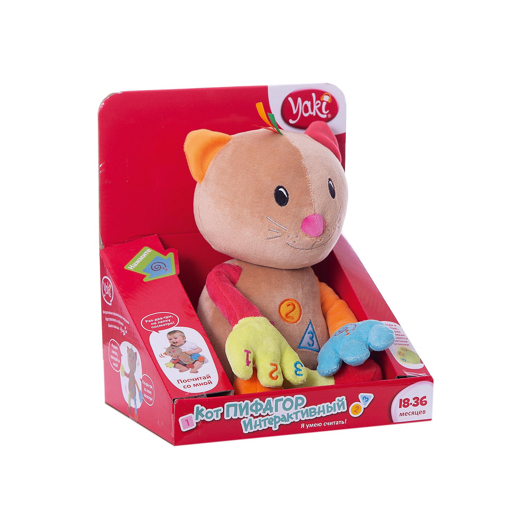 Кот Пифагор, со звуком, YAKIКот Пифагор, Yaki - очаровательная развивающая игрушка, которая обязательно привлечет внимание Вашего малыша и поможет ему выучить цвета и счет. Забавный котик с веселой мордочкой выполнен из мягкого приятного на ощупь материала, лапки, ноги и ушки разноцветные.<br>Внутри спрятан механизм, проигрывающий фразы и мелодии. Если малыш нажмет на кнопку Рифмы на левой лапке, то услышит забавные стихотворения и песенки про цифры. Три функциональные кнопки на животике игрушки помогут изучить цифры, формы предметов и цвета. Когда котик считает его пальчики светятся цветными огоньками. Всего у игрушки более 30 различных фраз и звуковых эффектов и 2 песенки. Способствует развитию логического мышления и воображения, тренирует память и мелкую моторику. <br><br>Дополнительная информация:<br><br>- Материал: искусственный мех, пластик, текстиль.<br>- Требуются батарейки: 3 х ААА (входят в комплект).<br>- Размер игрушки: 22 см.<br>- Размер упаковки: 22 х 26 х 17,5 см. <br>- Вес: 0,617 кг. <br><br>Кота Пифагора, со звуком, Yaki, можно купить в нашем интернет-магазине.<br><br>Ширина мм: 220<br>Глубина мм: 175<br>Высота мм: 260<br>Вес г: 617<br>Возраст от месяцев: 18<br>Возраст до месяцев: 132<br>Пол: Унисекс<br>Возраст: Детский<br>SKU: 4249884