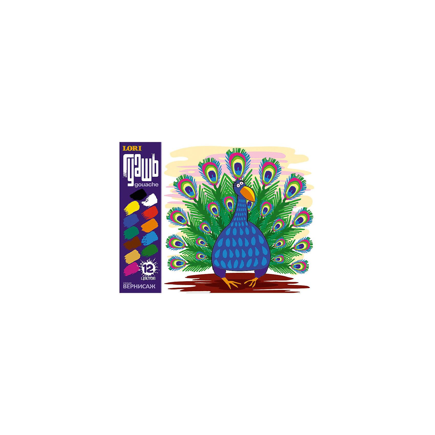 LORI Гуашь Вернисаж, 12 цветов всё для лепки lori пластилин классика 16 цветов