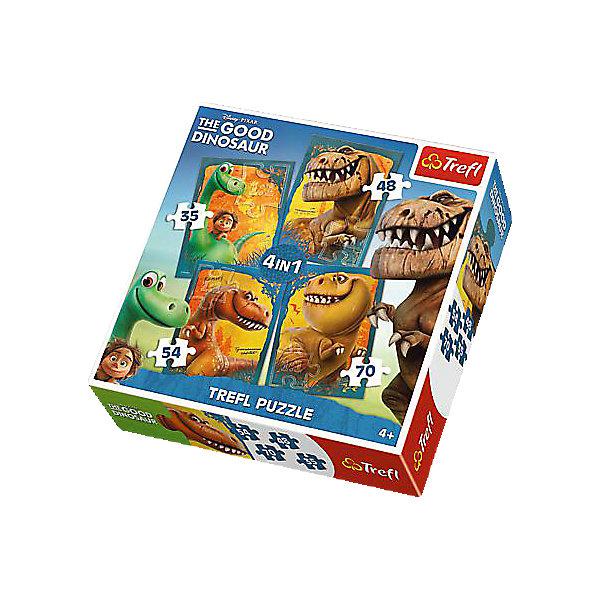 """Набор пазлов Хороший Динозавр, 35*48*54*70 деталей, TreflПазлы для малышей<br>Этот набор пазлов станет настоящей находкой для всех поклонников мультфильма """"Хороший динозавр"""". Мультик был выпущен в прошлом году студией Пиксар. В нем рассказывается о дружбе динозавра Арло и пещерного человека Спота.<br>В комплект входят сразу четыре пазла с изображениями главным героев этого мультфильма. Головоломки имеют различное количество деталей, поэтому малыш сможет начать собирать от простого к сложному.<br><br>Дополнительная информация:<br><br>В наборе пазлы из 35, 48, 54 и 70 деталей.<br><br>Набор пазлов Хороший Динозавр, 35*48*54*70 деталей, Trefl  можно купить в нашем магазине.<br><br>Ширина мм: 286<br>Глубина мм: 283<br>Высота мм: 63<br>Вес г: 584<br>Возраст от месяцев: 60<br>Возраст до месяцев: 84<br>Пол: Мужской<br>Возраст: Детский<br>Количество деталей: 35<br>SKU: 4250579"""